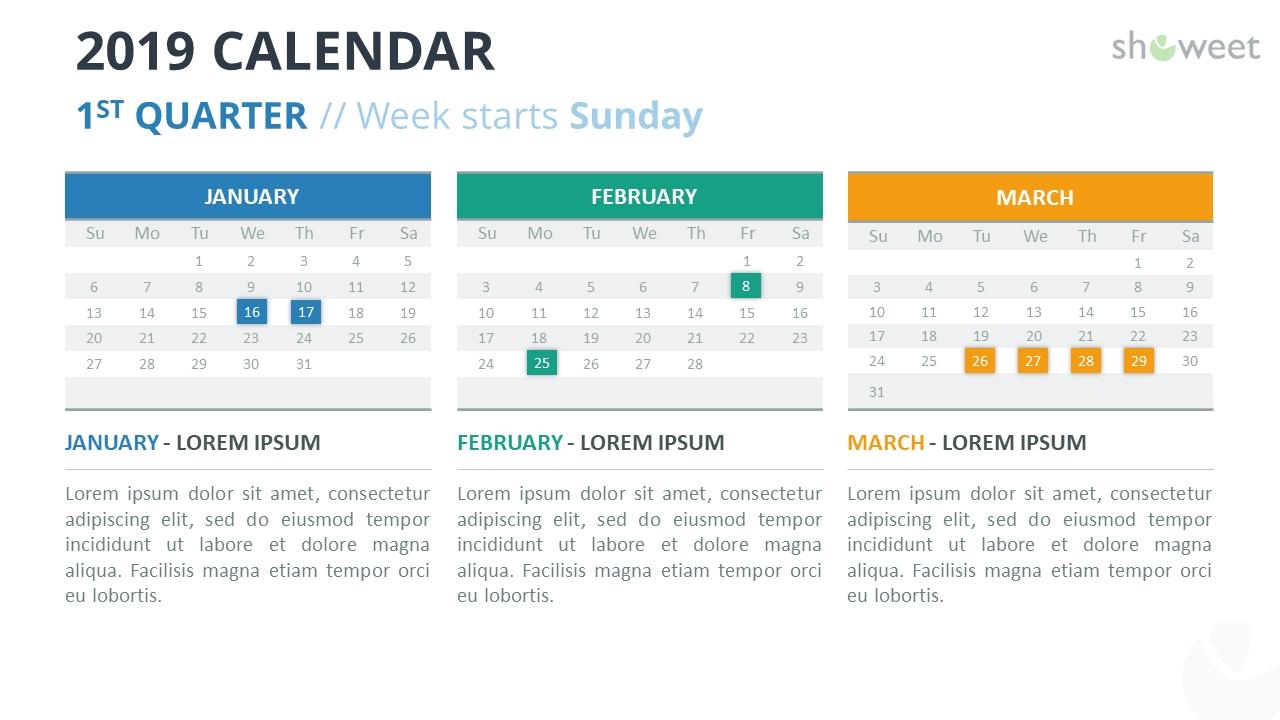 2019 Calendar Powerpoint Templates Calendar 2019 1St Quarter