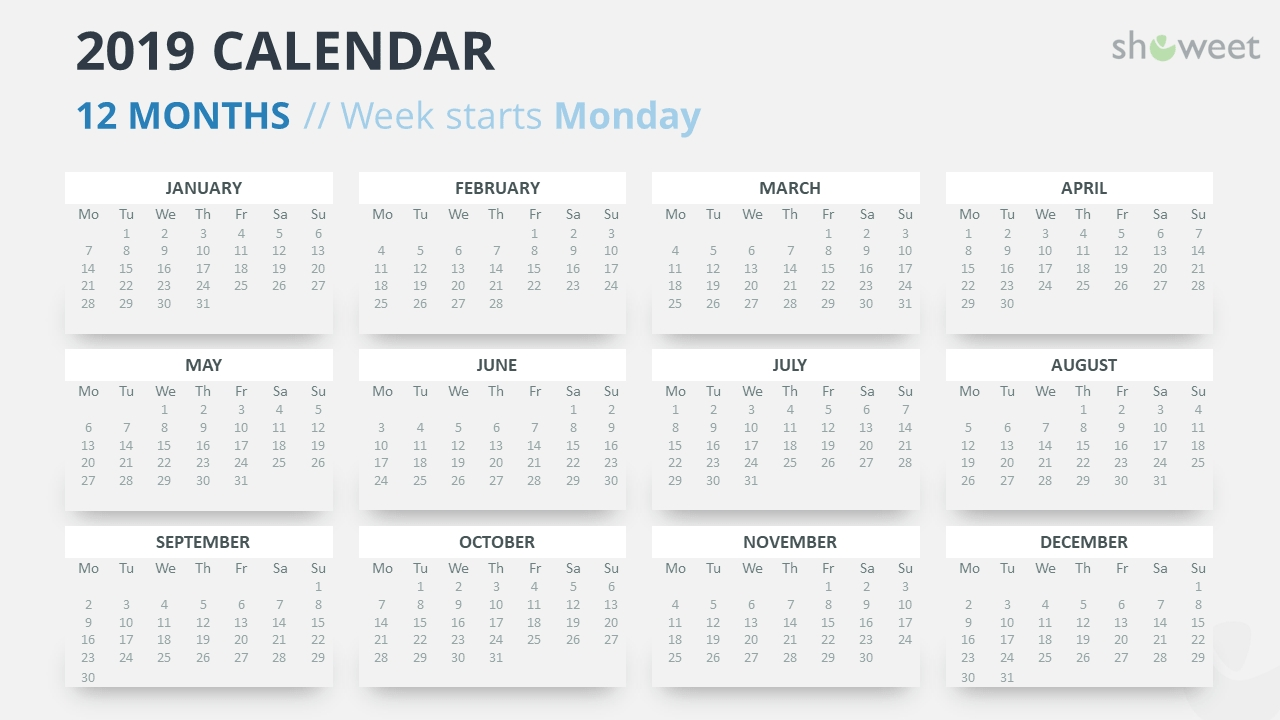 2019 Calendar Powerpoint Templates Calendar 2019 Monday Start