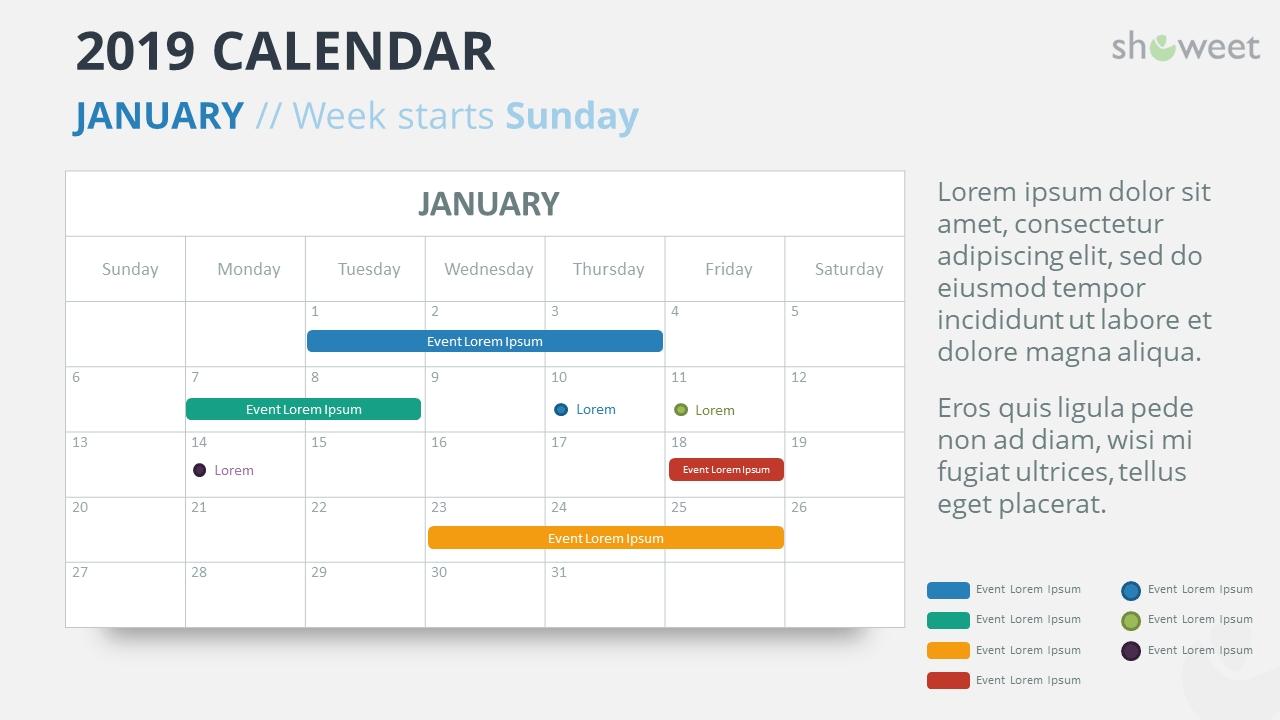 2019 Calendar Powerpoint Templates Calendar 2019 Powerpoint