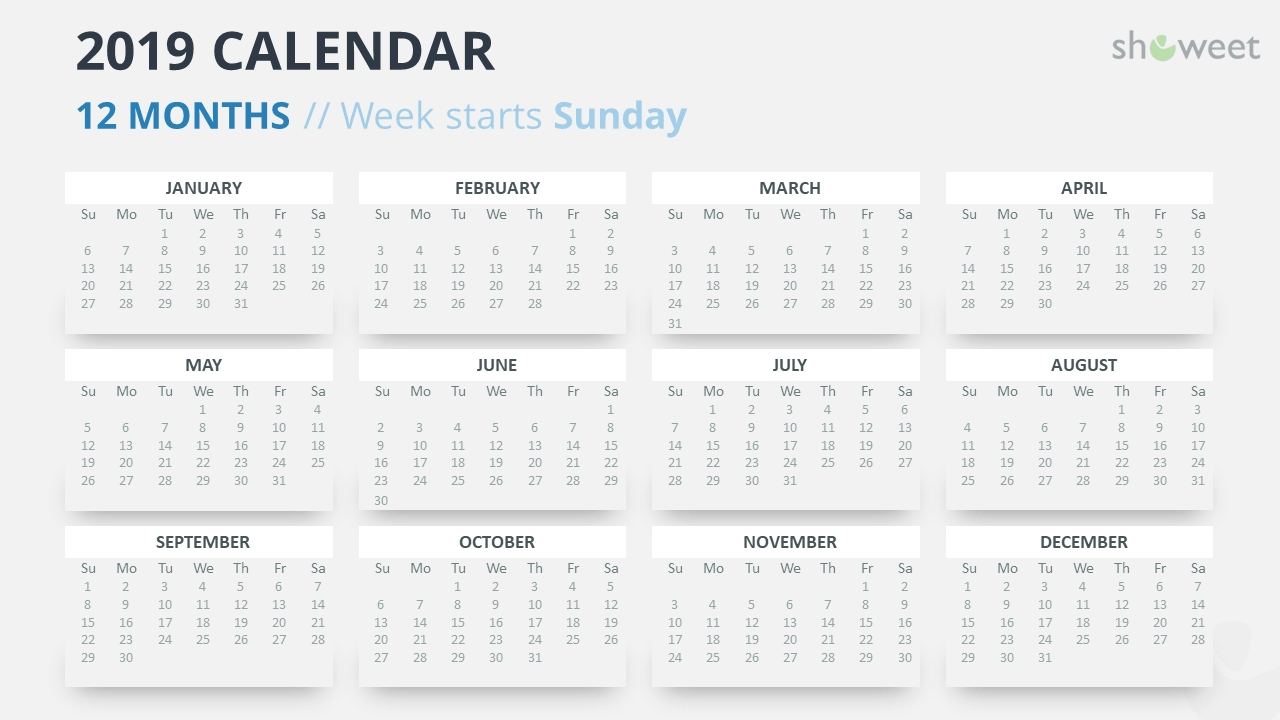 2019 Calendar Powerpoint Templates Calendar Week 12 2019