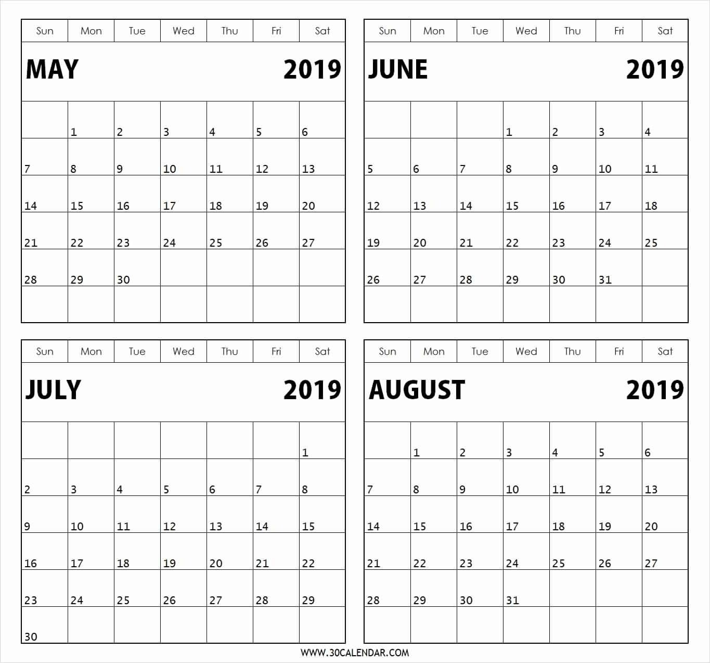 2019 Calendar Printable 4 Month – Template Calendar Design 4 Month Calendar 2019