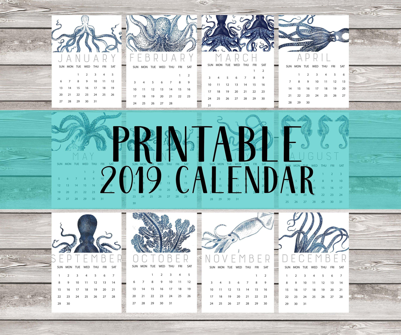 2019 Calendar Printable Nautical Octopus Kraken Blue Navy | Etsy Calendar 2019 Octopus