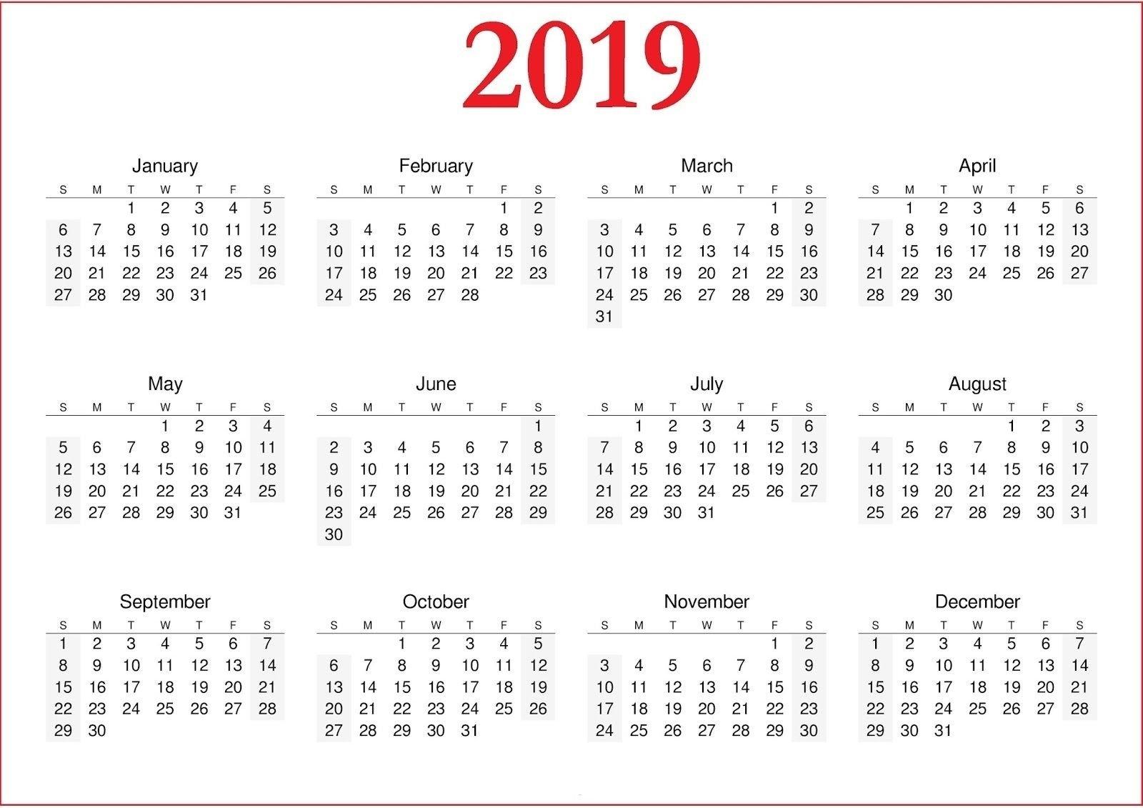 2019 Calendar Printable Nz #calendar2019 #printablecalendar 2019 Calendar Nz