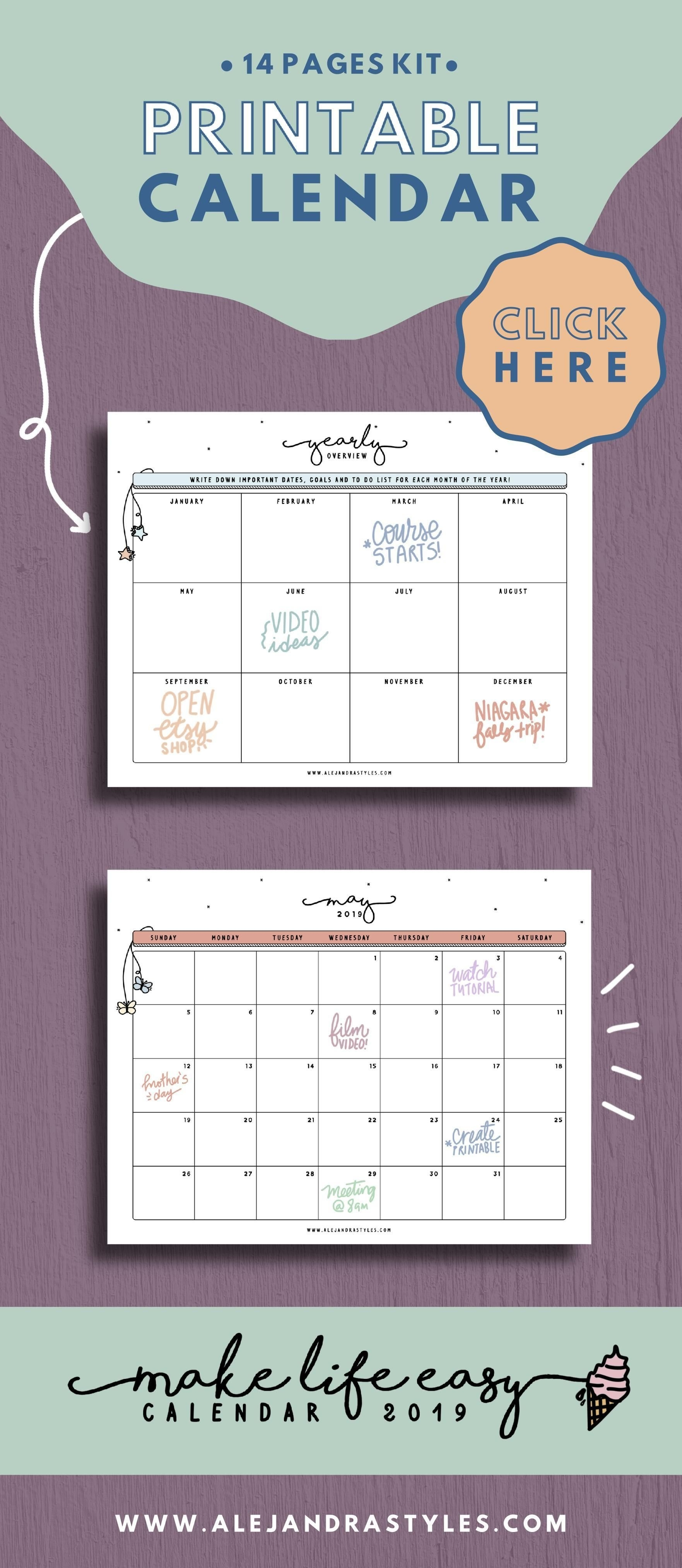 2019 Calendar Printable Planner For Desk Or Wall | Monday And Sunday Busy B Desktop Calendar 2019