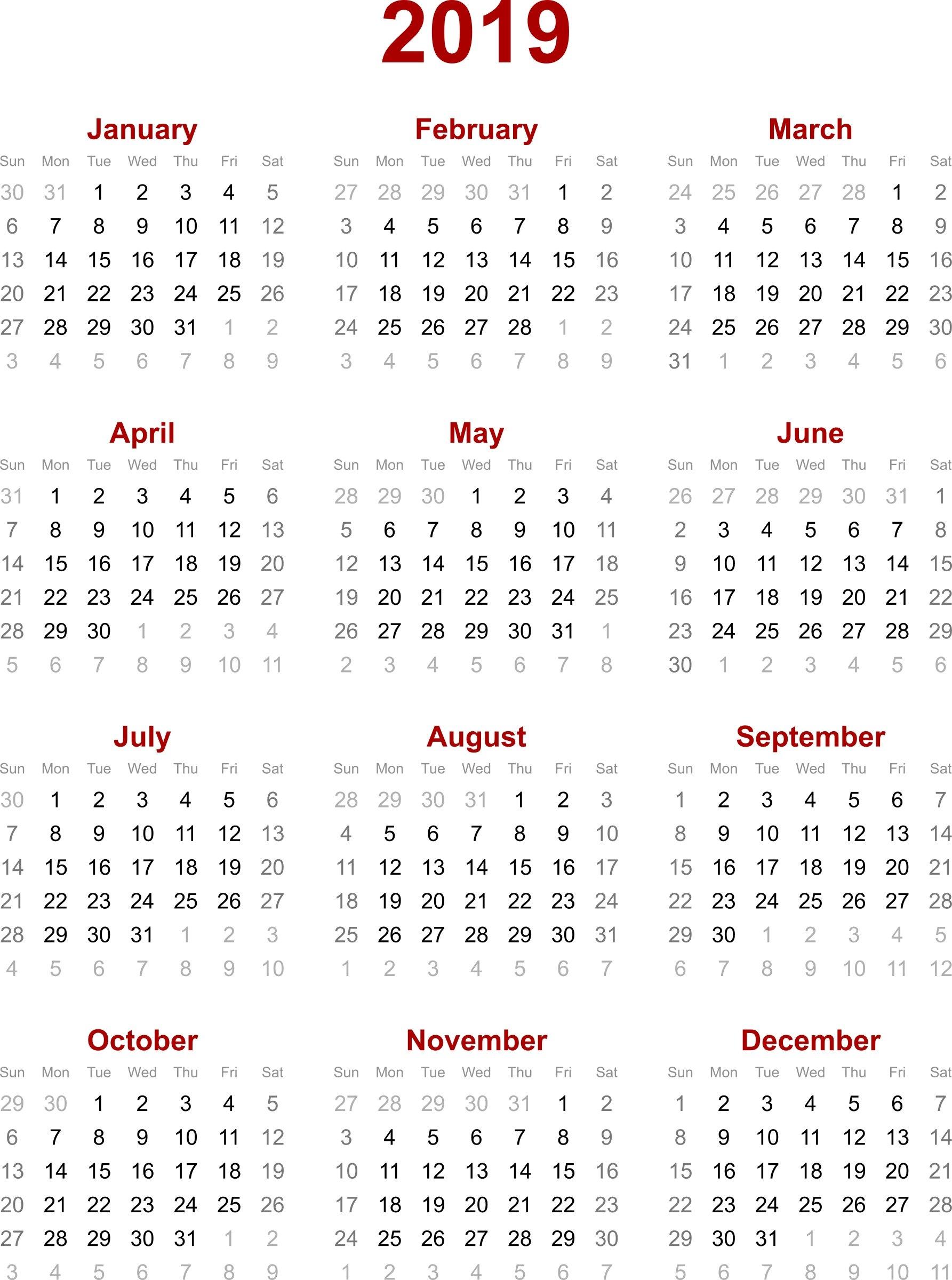 2019 Calendar Printable - Printable Calendar & Birthday Cards Calendar Of 2019