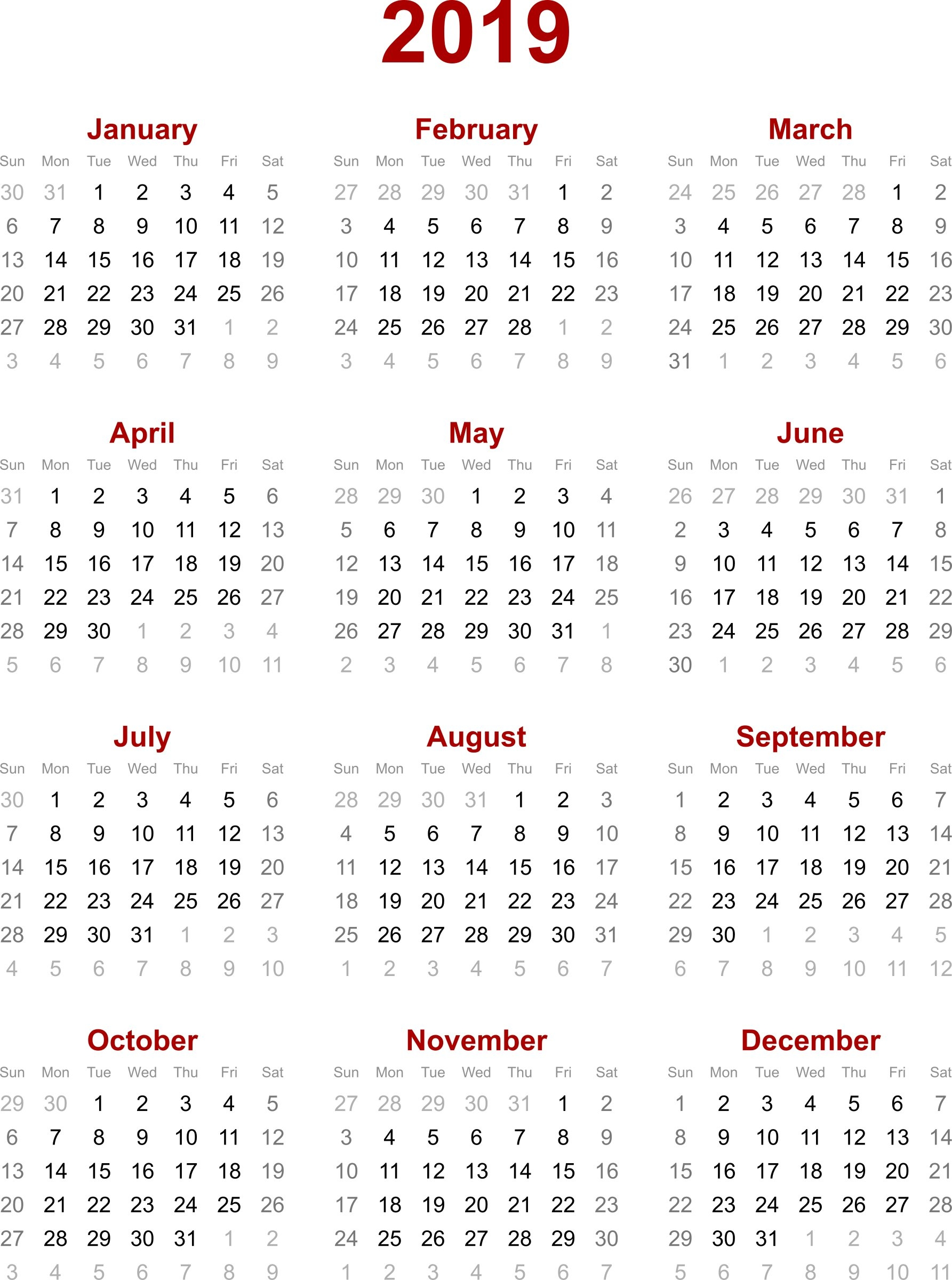 2019 Calendar Printable - Printable Calendar & Birthday Cards July 6 2019 Calendar