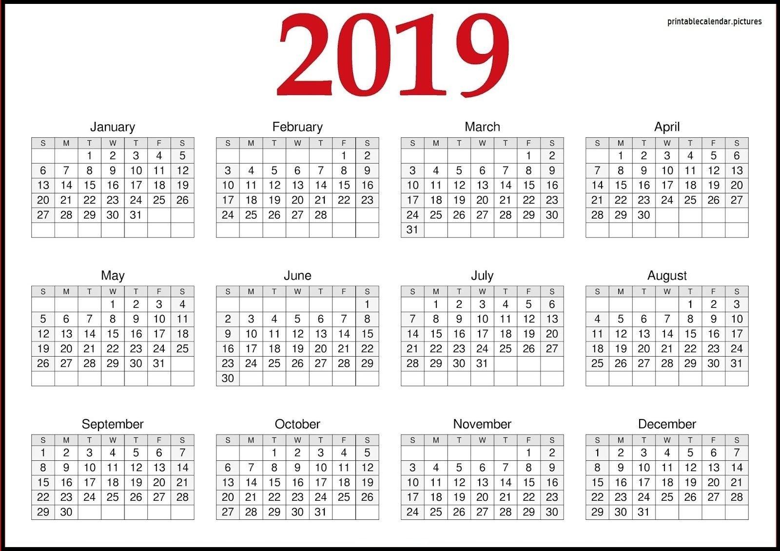 2019 Calendar Printable Word, Excel, Pdf, And Template | Printable Calendar 2019 Pdf