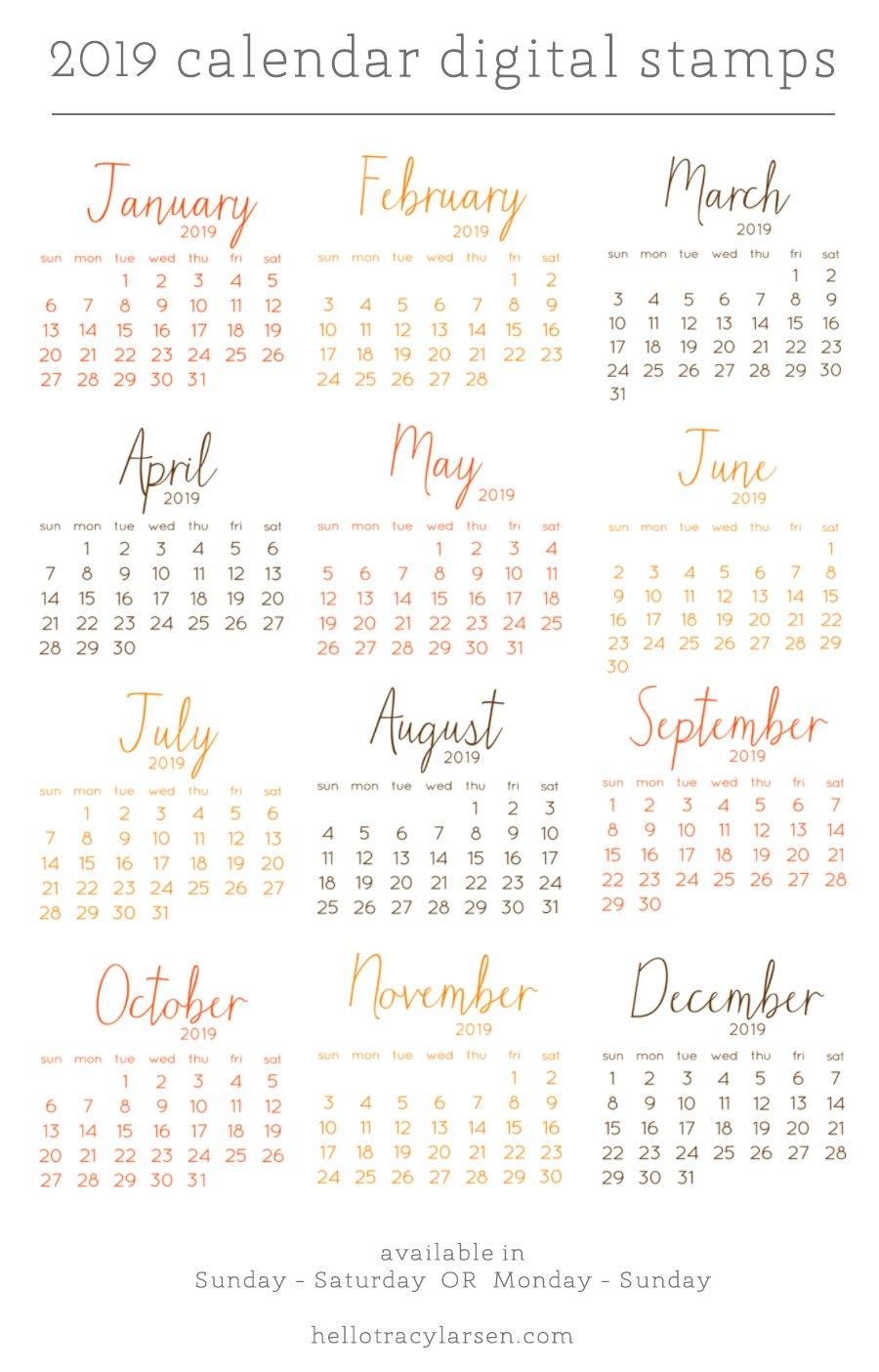 2019 Calendar Set (Monday To Sunday) — Tracy Larsen Calendar 2019 Digital