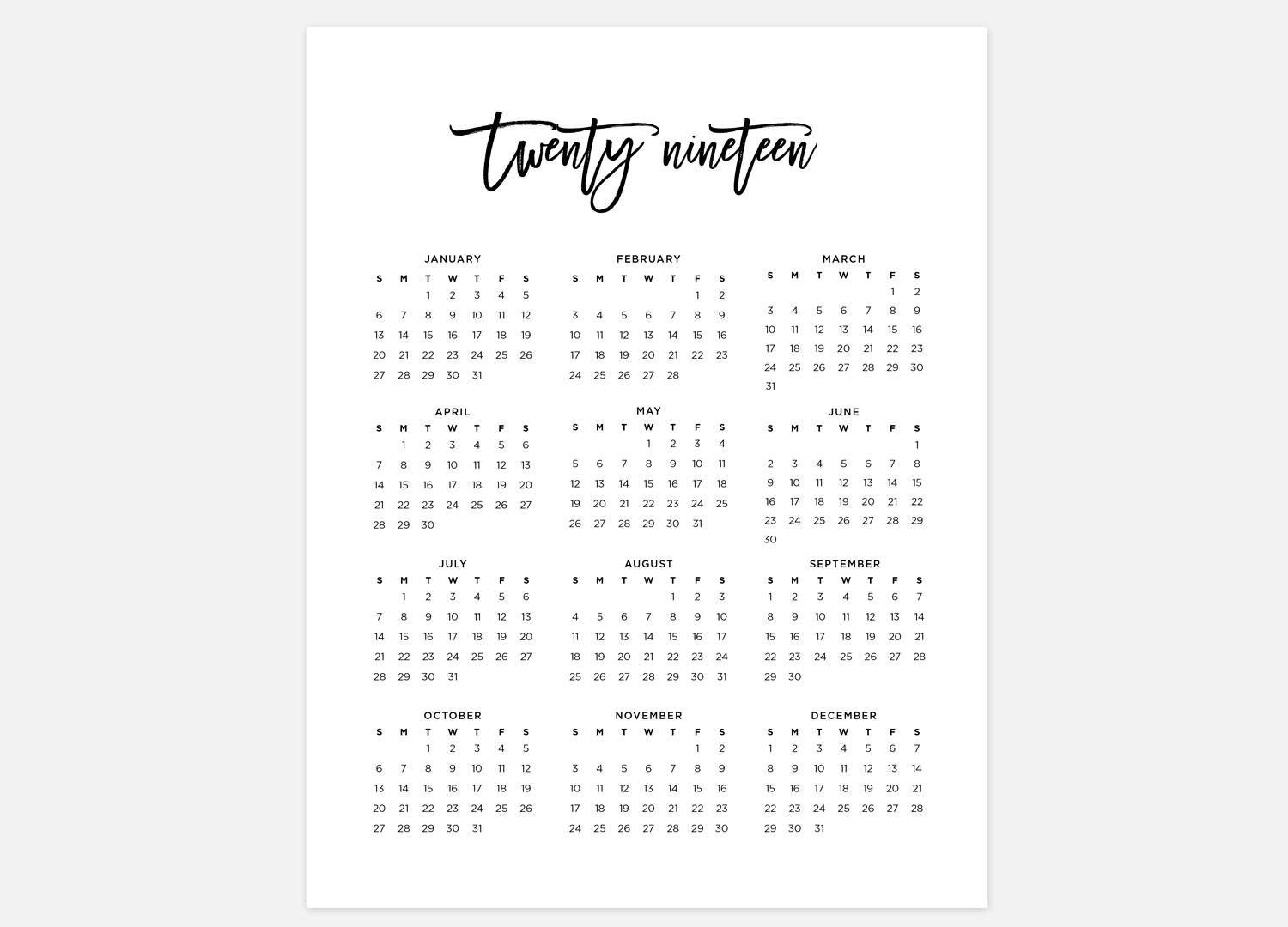 2019 Calendar Simple Calendar 2019 Year Calendar 2019 | Etsy At A Glance Calendar 2019