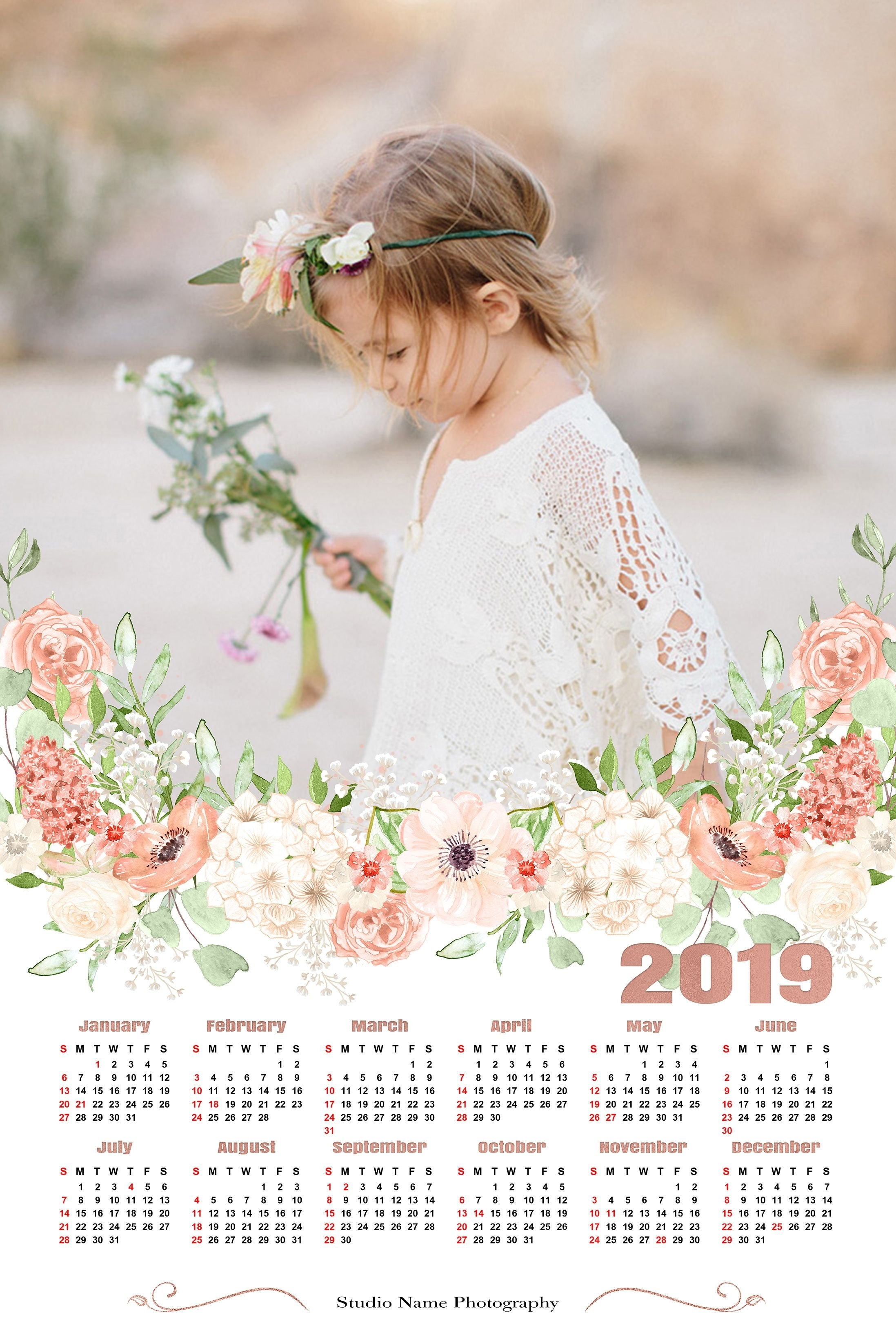 2019 Calendar Template  12X18 Photo Calendar Photoshop Template 8X10 Calendar 2019