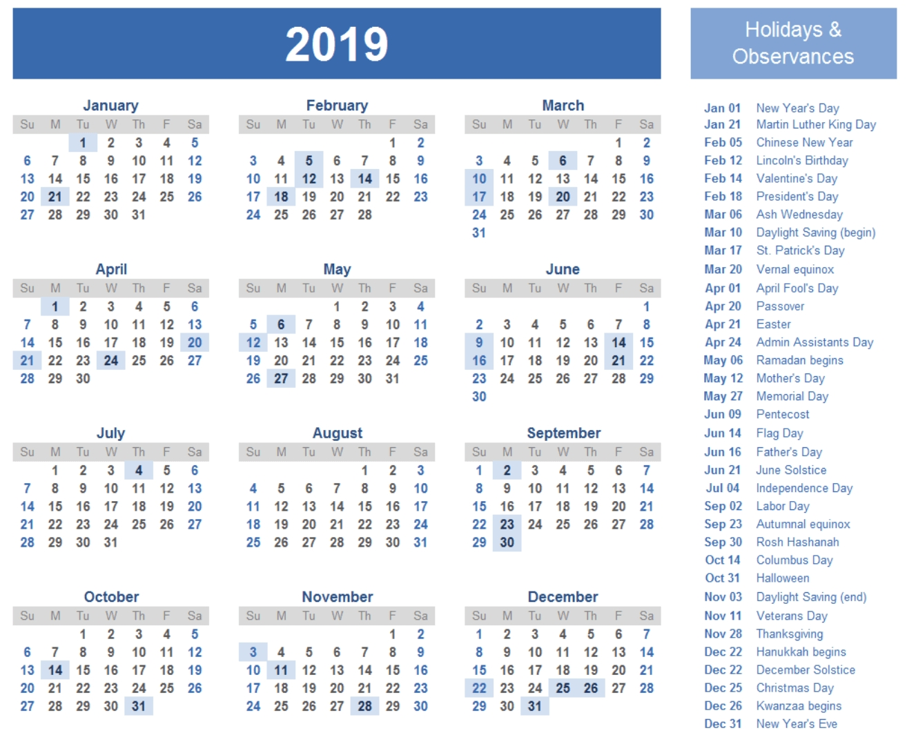 2019 Calendar Template | 2019 Calendar Template In 2018 | Pinterest W 2019 Calendar