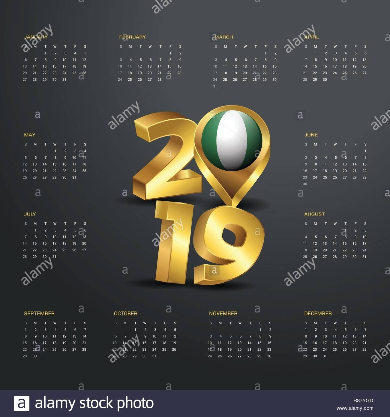 2019 Calendar Template. Golden Typography With Nigeria Country Map Calendar 2019 Nigeria
