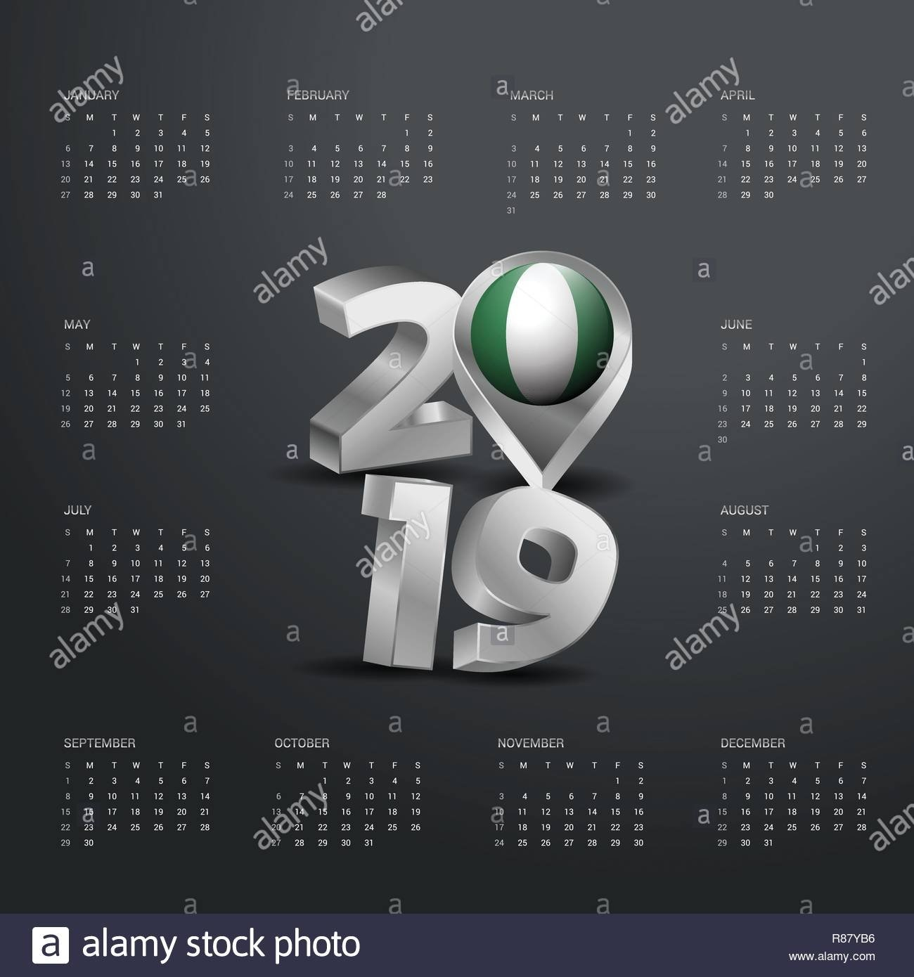 2019 Calendar Template. Grey Typography With Nigeria Country Map Calendar 2019 Nigeria