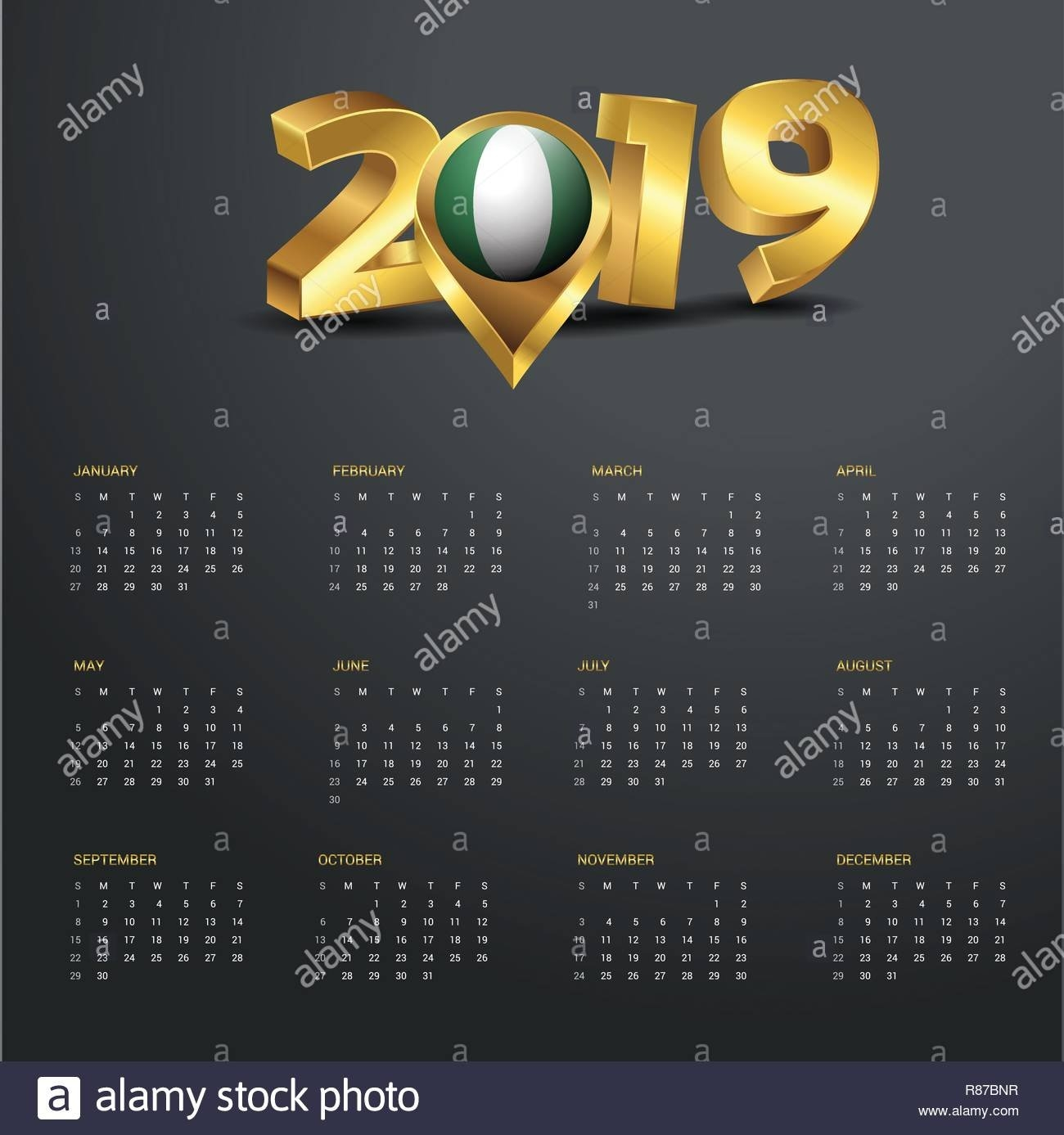 2019 Calendar Template. Nigeria Country Map Golden Typography Header Calendar 2019 Nigeria