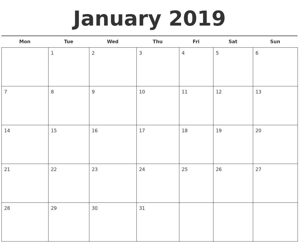 2019 Calendar Template Printable Month Calendarjanuary 2019 Calendar Calendar 2019 Excel Monthly