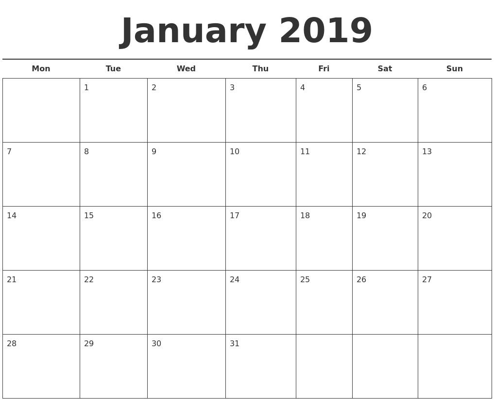 2019 Calendar Template Printable Month Calendarjanuary 2019 Calendar Calendar 2019 Template Excel