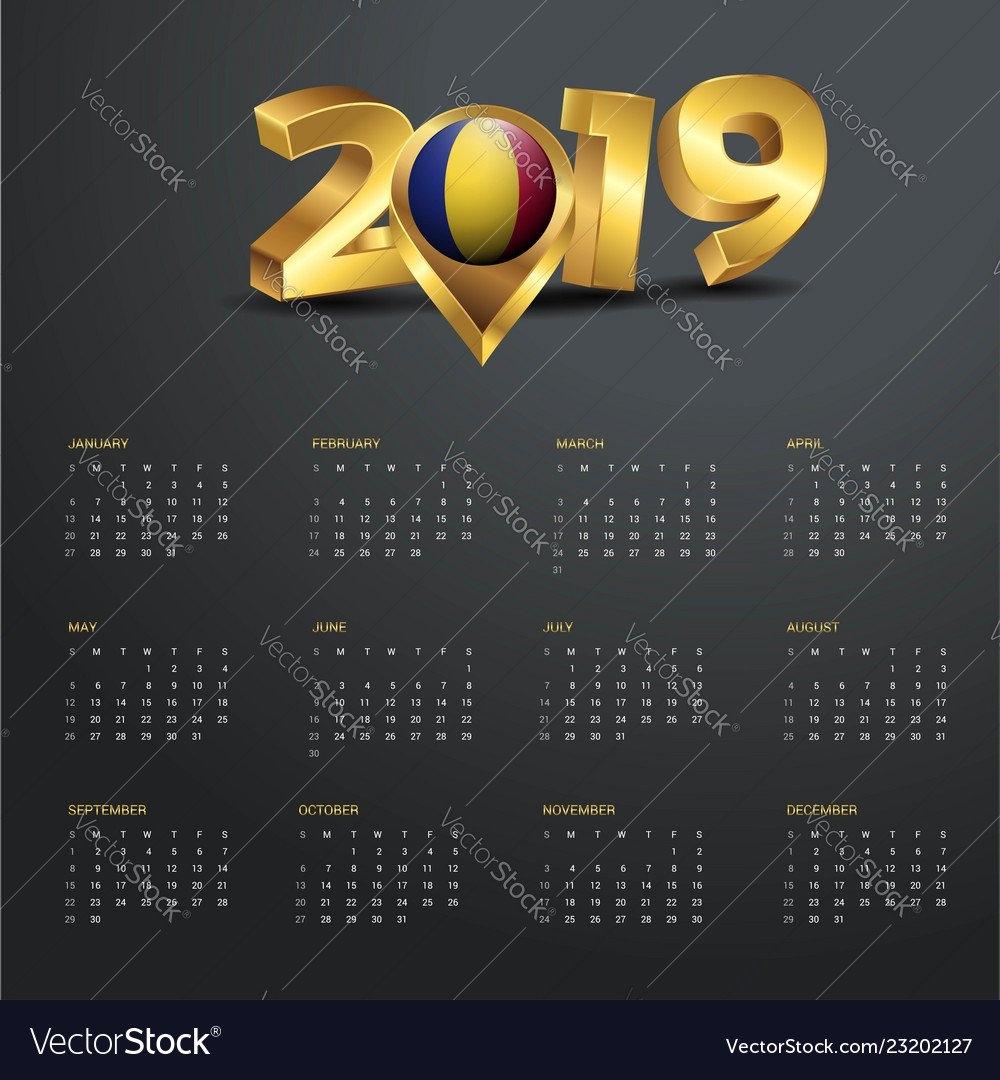 2019 Calendar Template Romania Country Map Golden Vector Image Calendar 2019 Romania Pdf