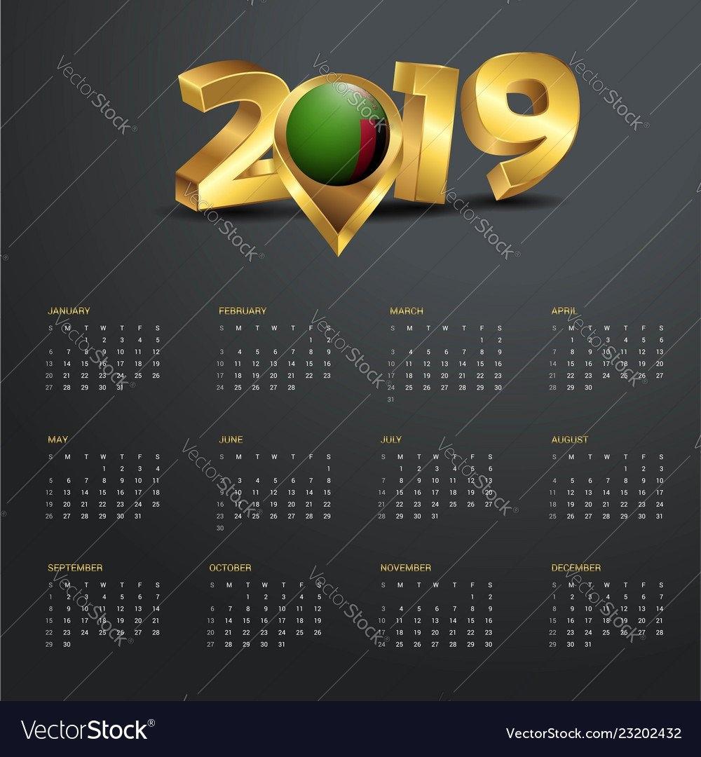 2019 Calendar Template Zambia Country Map Golden Vector Image Calendar 2019 Zambia