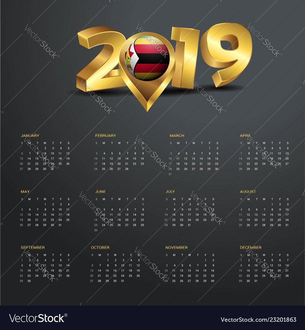 2019 Calendar Template Zimbabwe Country Map Vector Image Calendar 2019 Zimbabwe