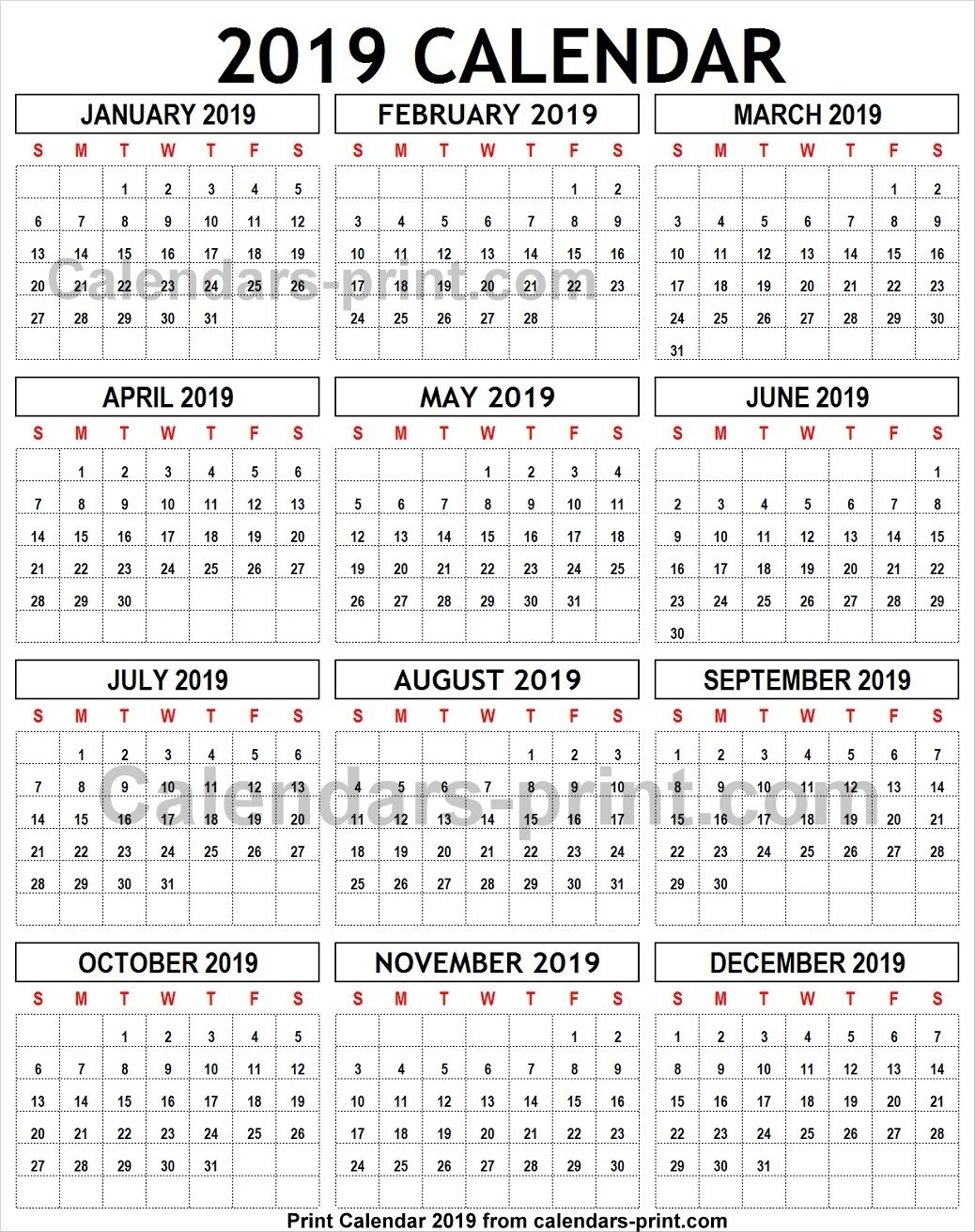 2019 Calendar To Print Template With Notes | Holidays 2019 Calendar 8 1/2 X 11