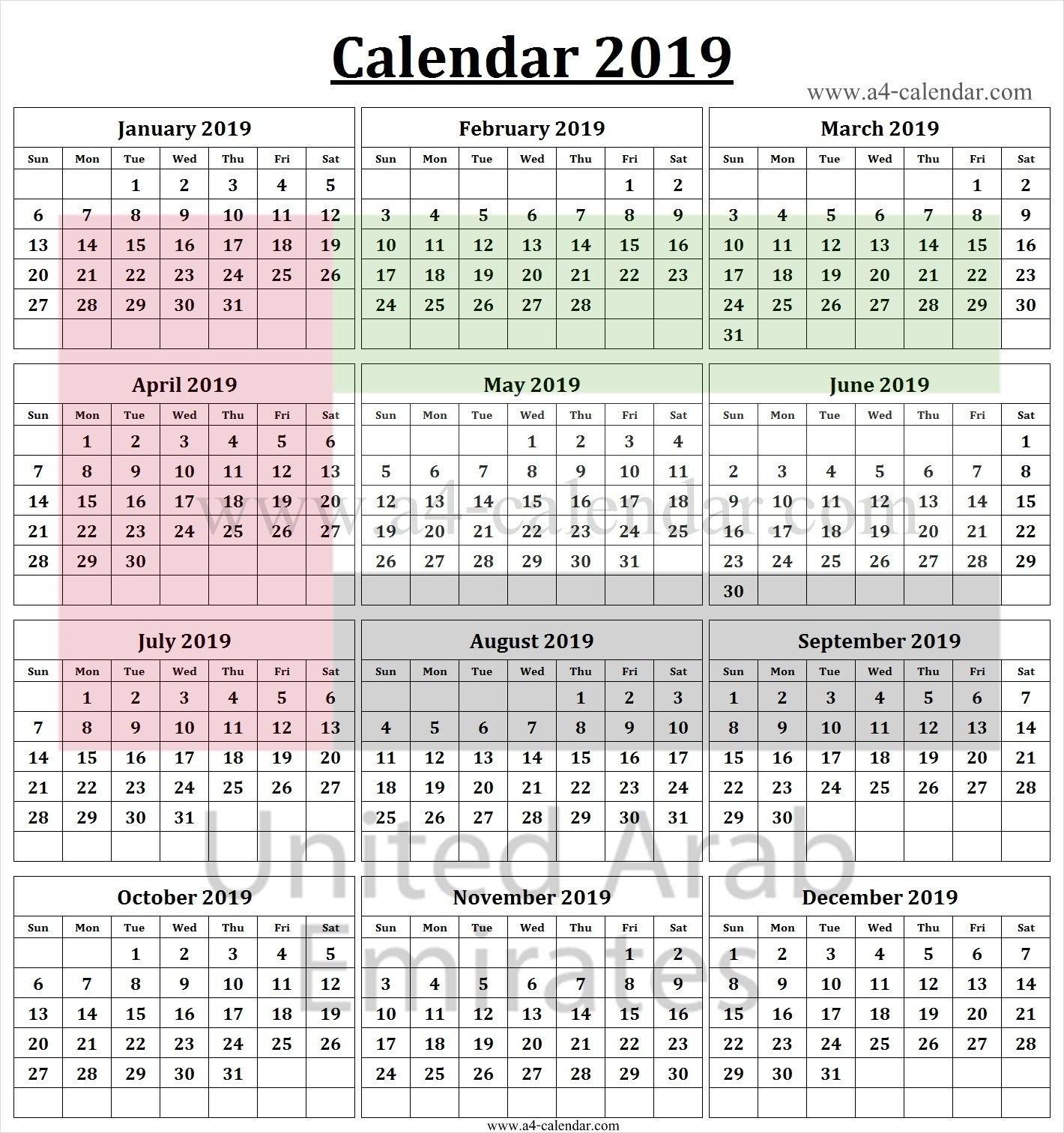 2019 Calendar Uae | 2019 Calendar Template | 2019 Calendar, Calendar U A E Calendar 2019