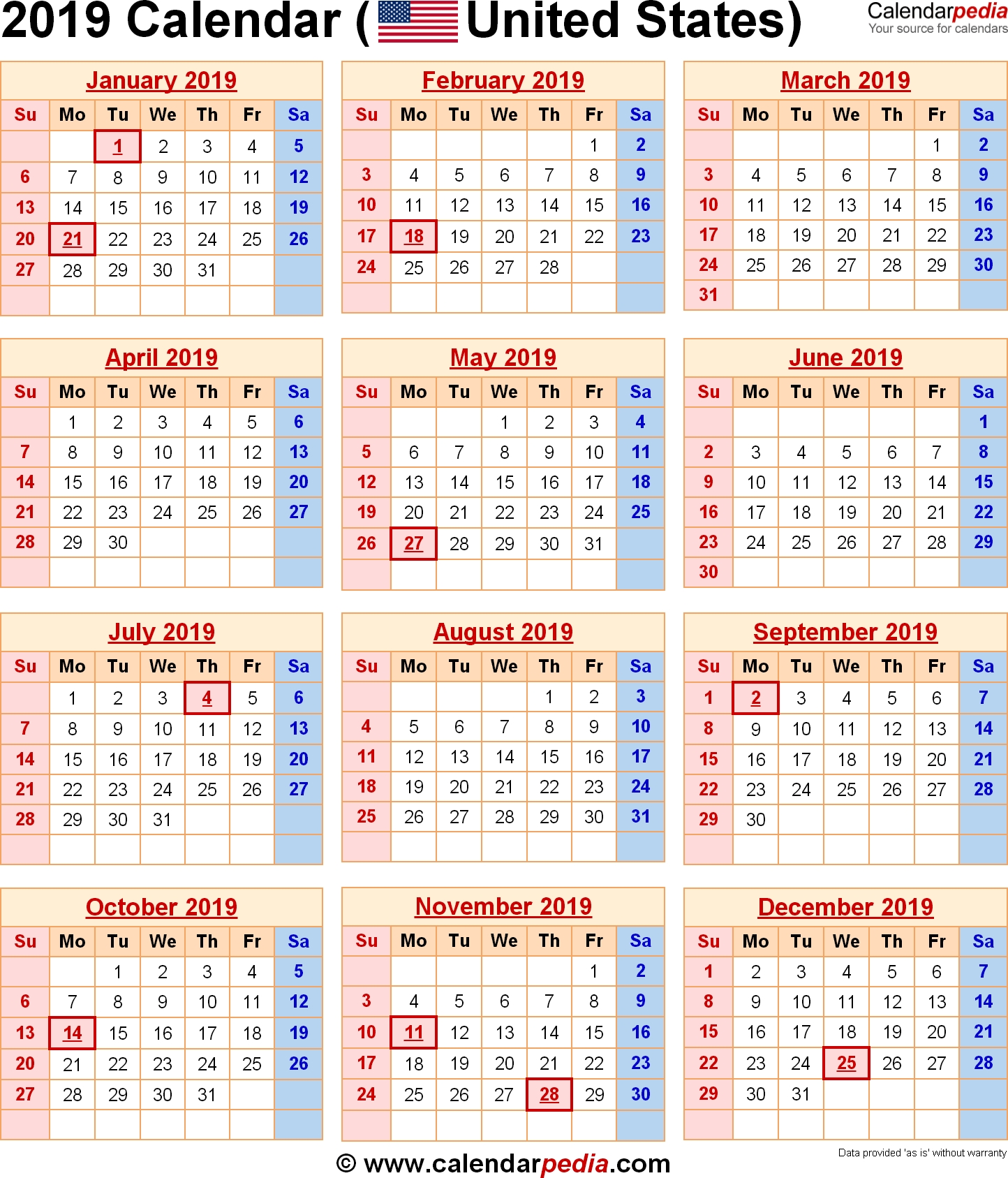 2019 Calendar United States | Us Federal Holidays | 2019 Calendar Us Calendar 2019 Usa