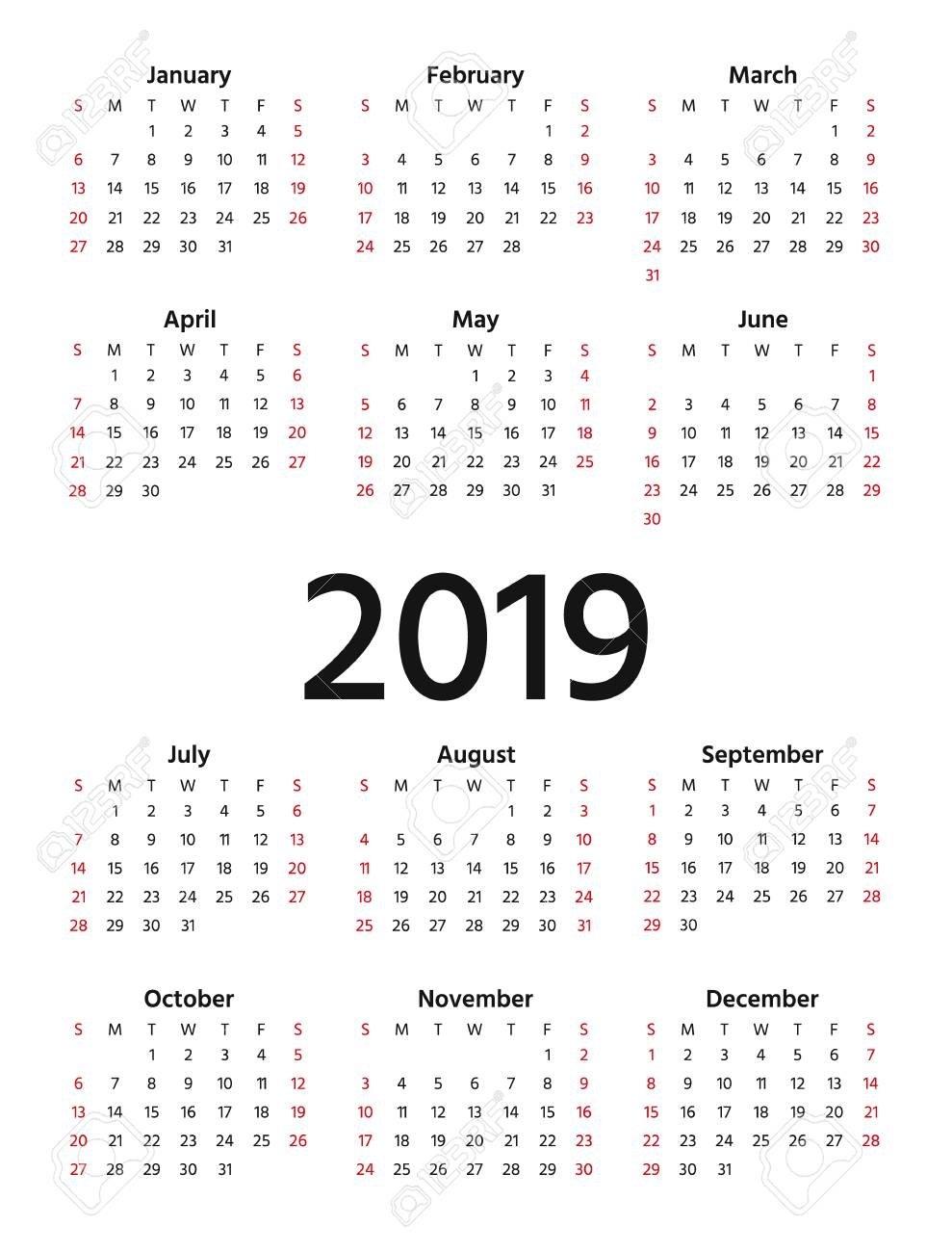 2019 Calendar. Vector. Week Starts Sunday In Minimal Simple Design Calendar 2019 Eps