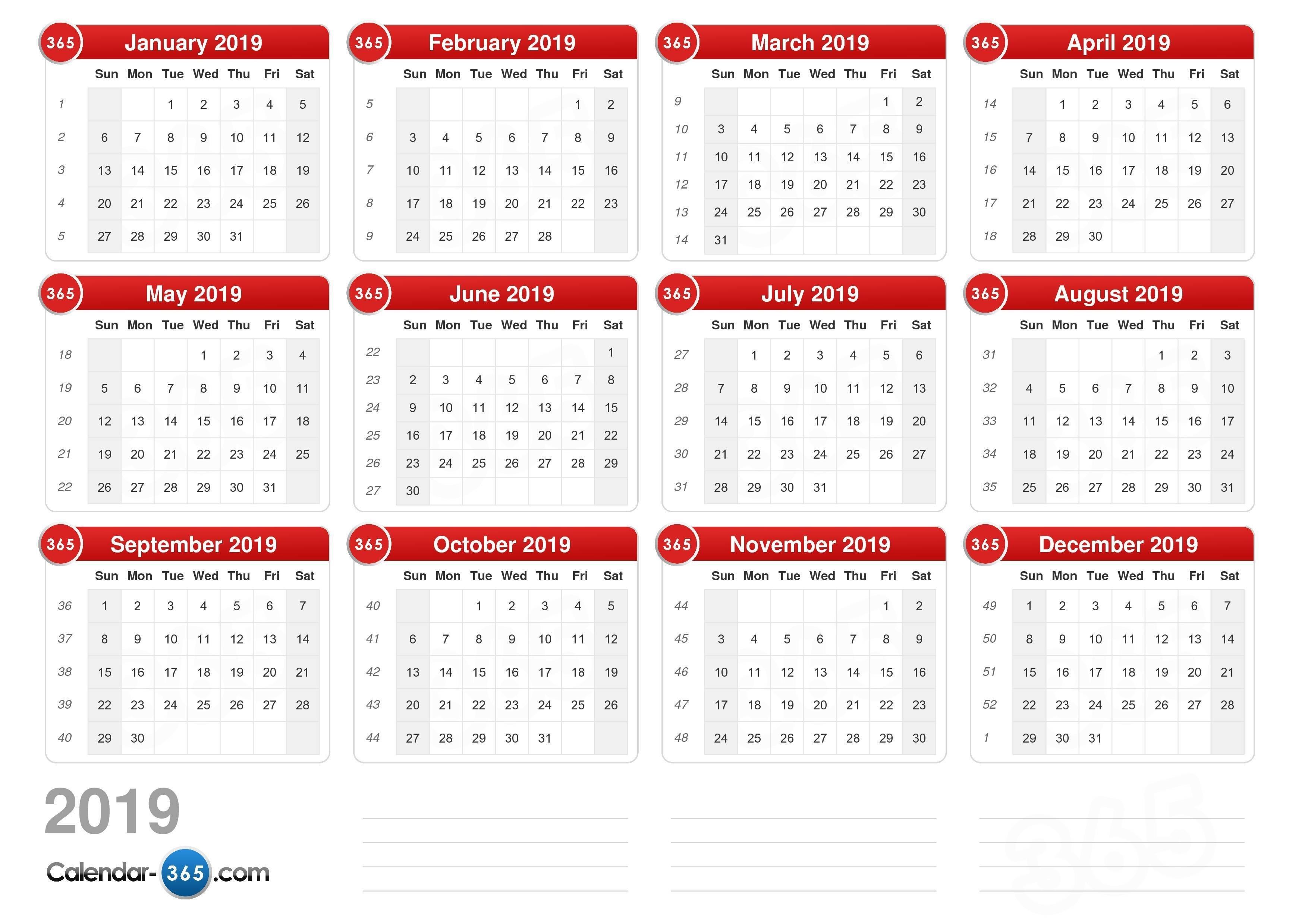 2019 Calendar Week 1 Calendar 2019