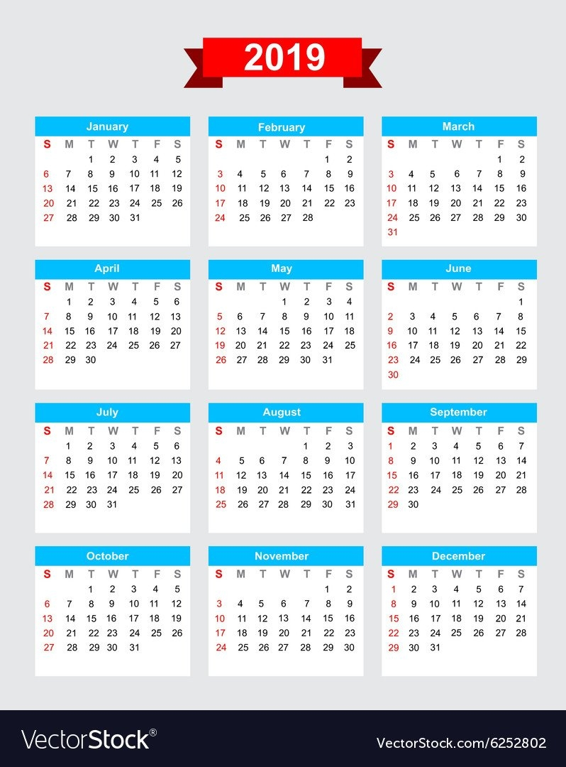 2019 Calendar Week Start Sunday Royalty Free Vector Image $1 Calendar 2019
