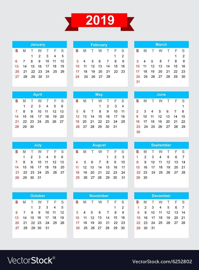 2019 Calendar Week Start Sunday Royalty Free Vector Image Calendar 2019 By Week