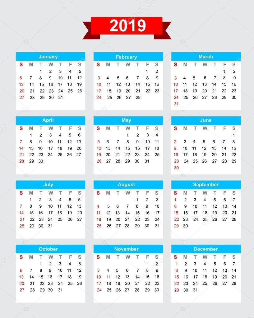 2019 Calendar Week Start Sunday — Stock Vector © Thekaikoroez #86621786 Calendar 2019 Mexico