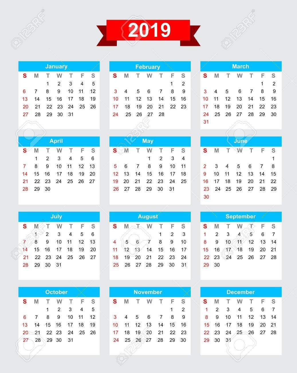 2019 Calendar Week Start Sunday Vector Royalty Free Cliparts Calendar 2019 In Weeks