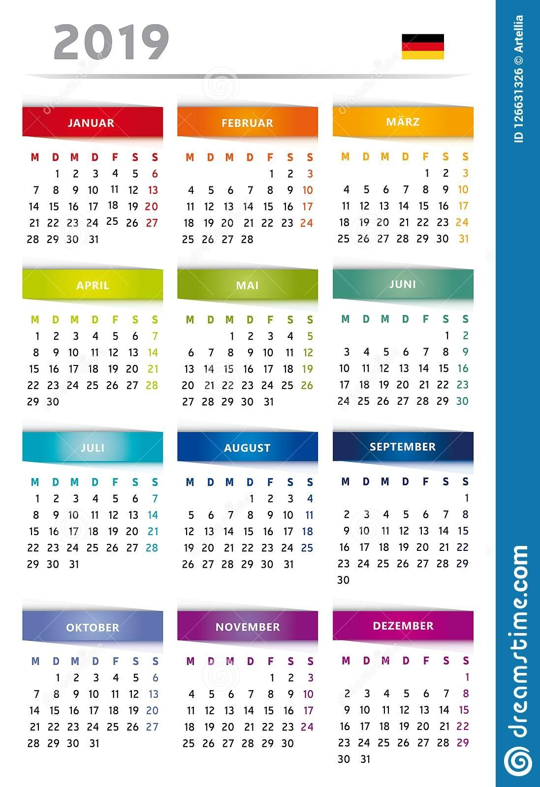 2019 Calendar With Boxes In Rainbow Colors 4 Trimesters - 3 Columns 4 Column Calendar 2019