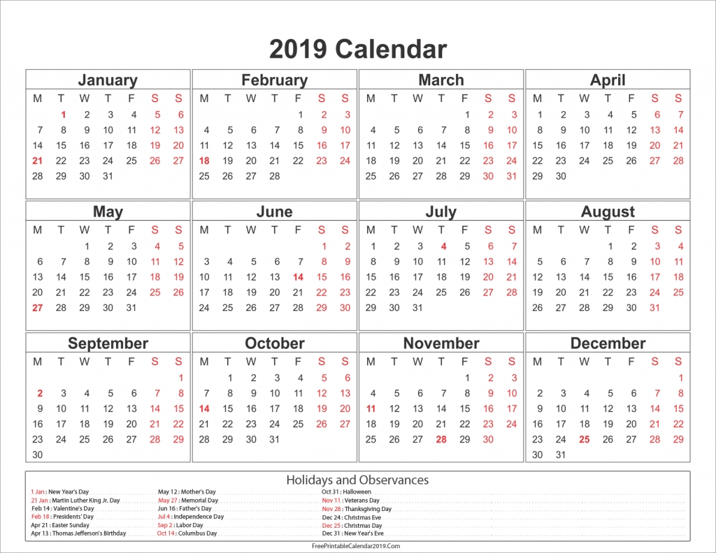 2019 Calendar With Holidays - Us, Uk, Australia, Canada - 2018 Calendar Calendar 2019 Showing Holidays