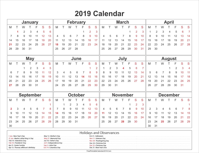 2019 Calendar With Holidays - Us, Uk, Australia, Canada - 2018 Calendar Calendar 2019 With Us Holidays