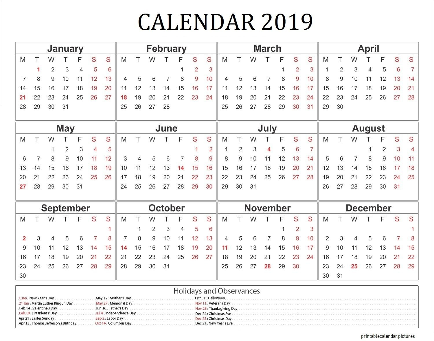 2019 Calendar With Holidays Usa | 2019 Calendar Holidays | Pinterest Calendar 2019 With Holidays Usa
