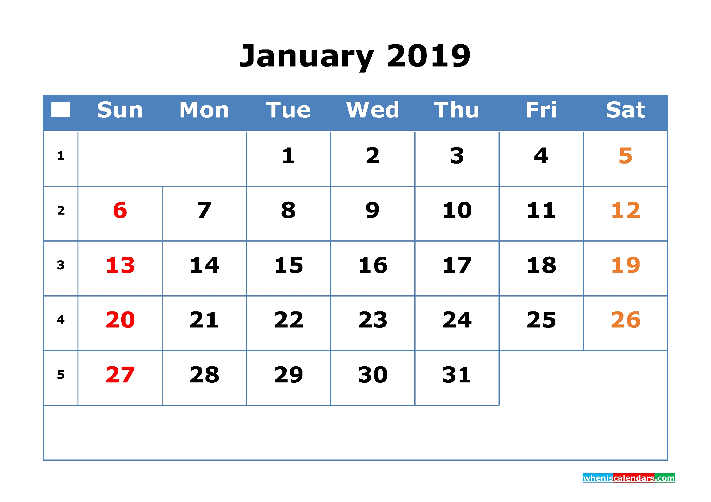 2019 Calendar With Week Numbers Printable As Pdf, Image, Excel Calendar 2019 Excel By Week