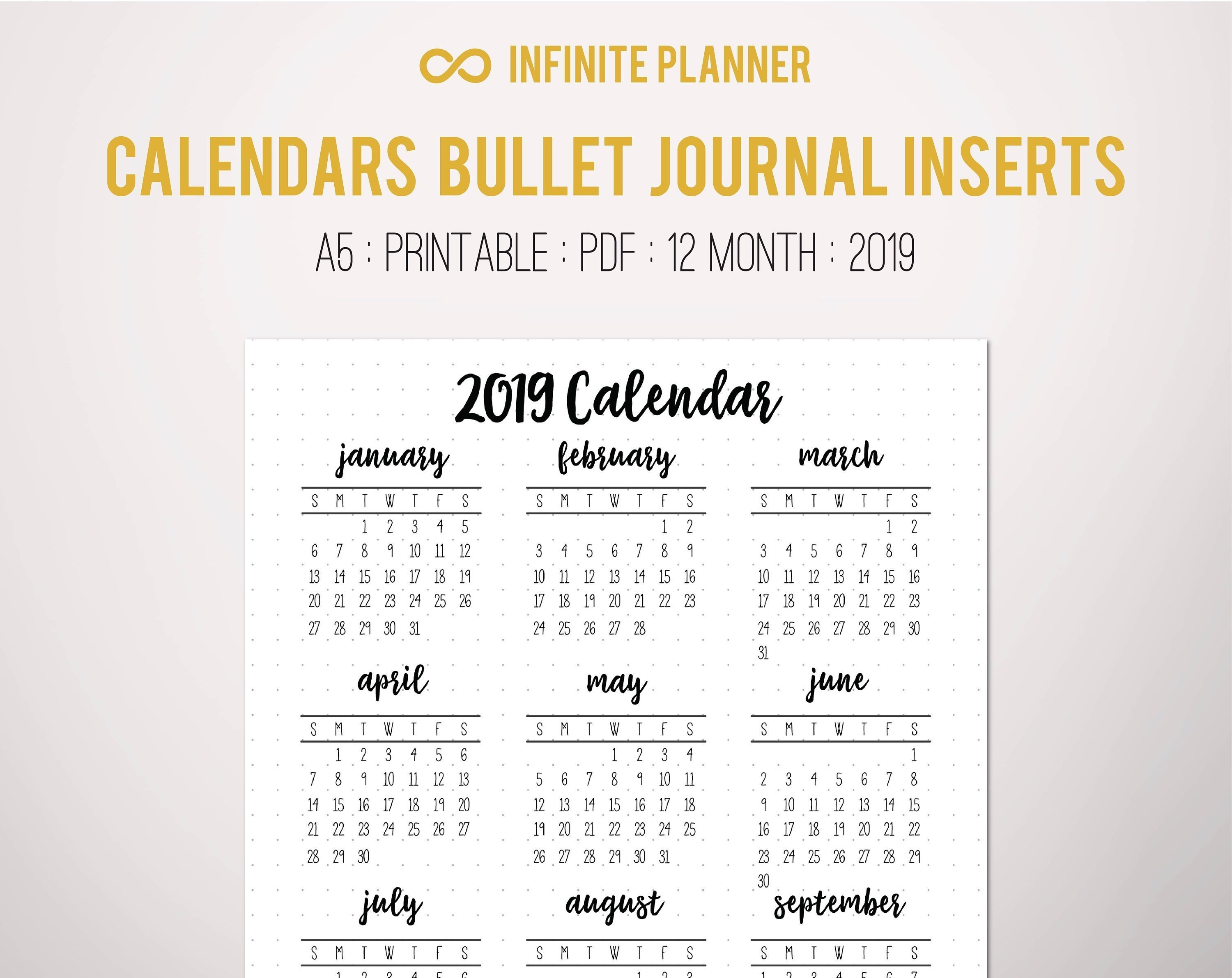 2019 Calendar Year At A Glance Page A5 Or Sticker Bullet | Etsy At A Glance Calendar 2019