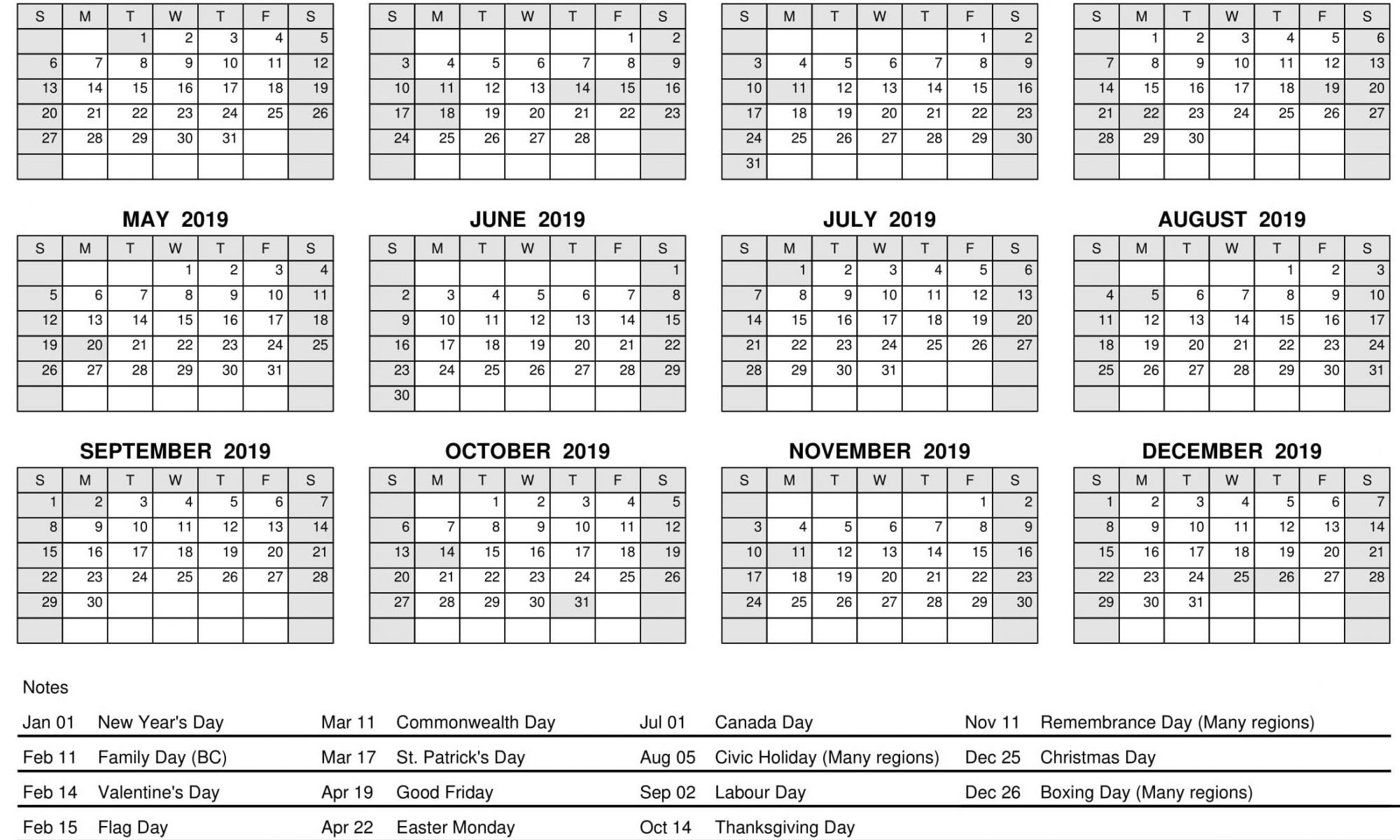 2019 Calendar Year At A Glance With Holidays | Free Printable 2018 Calendar Year 2019 Canada