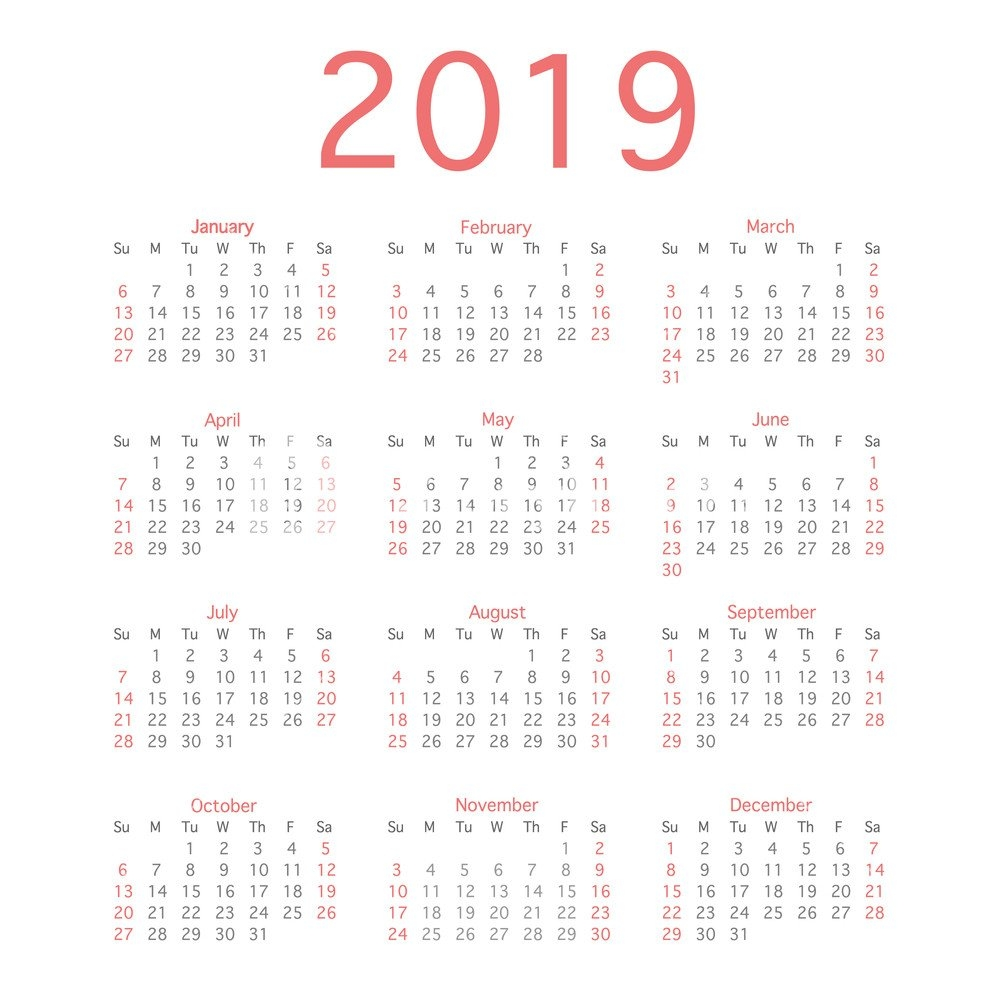 2019 Calendar Year, Simple Calendar Layout For 2019 Year. Vector Calendar 2019 Bu