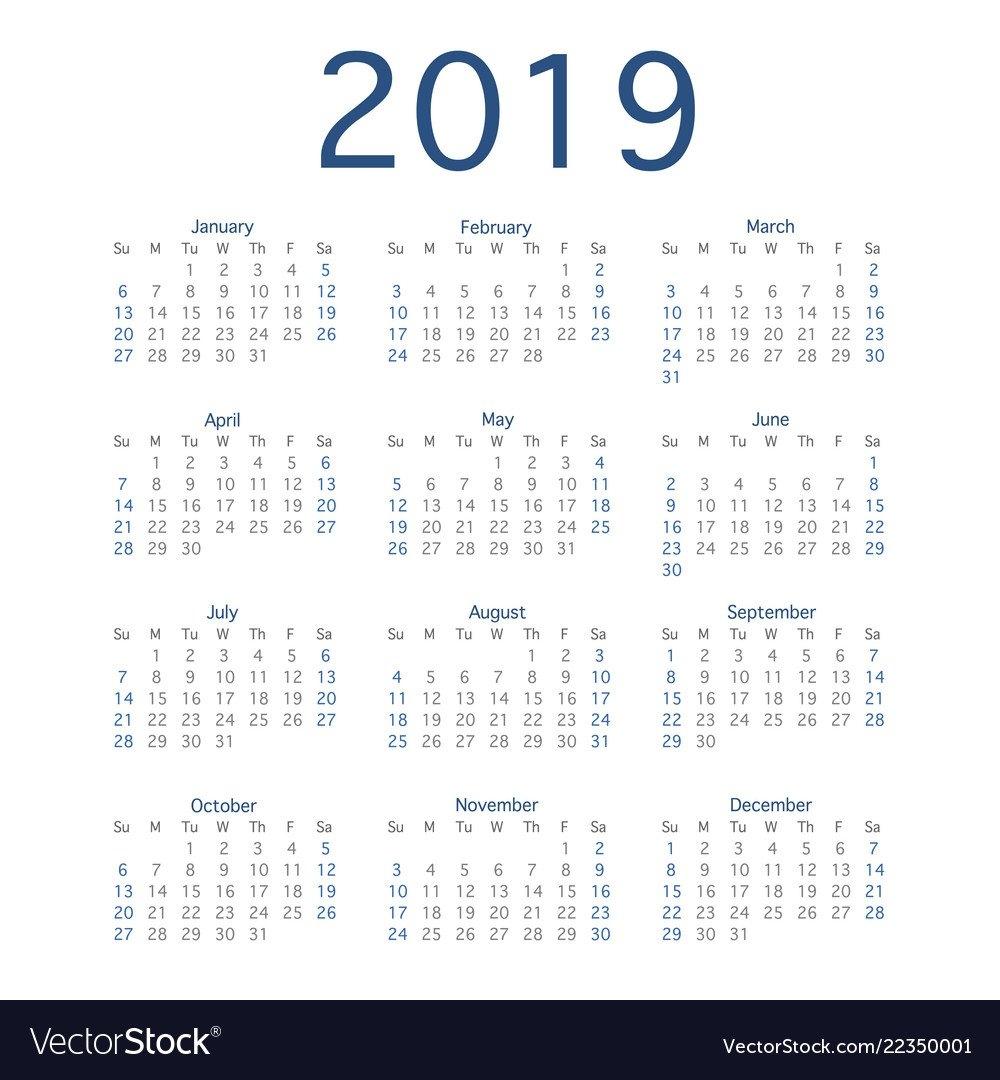 2019 Calendar Year Simple Calendar Layout For Vector Image Calendar 01/2019