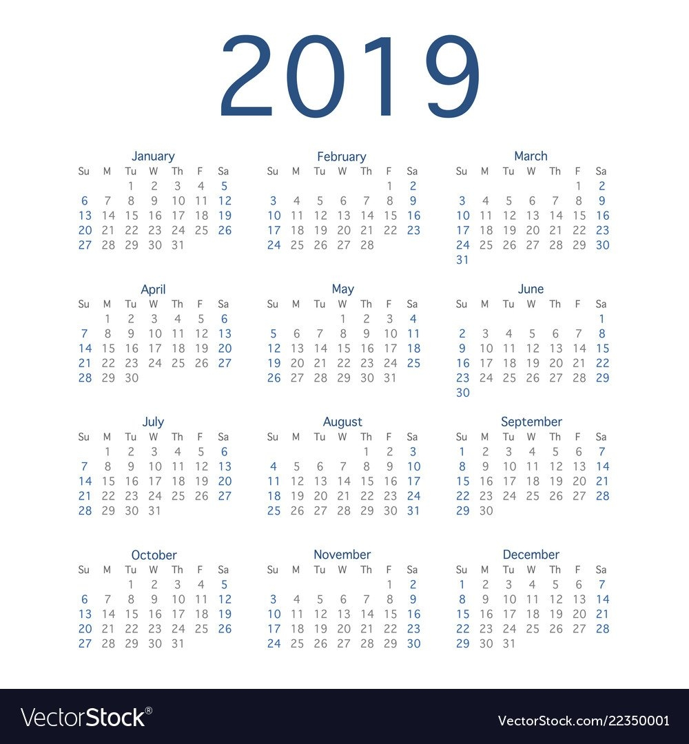 2019 Calendar Year Simple Calendar Layout For Vector Image Calendar 2019 Layout