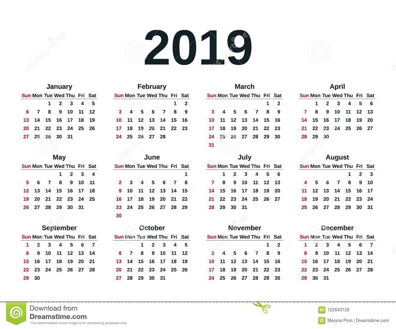2019 Calendar Year. Vector Illustration. Template Planner. Stock Week 5 Calendar 2019