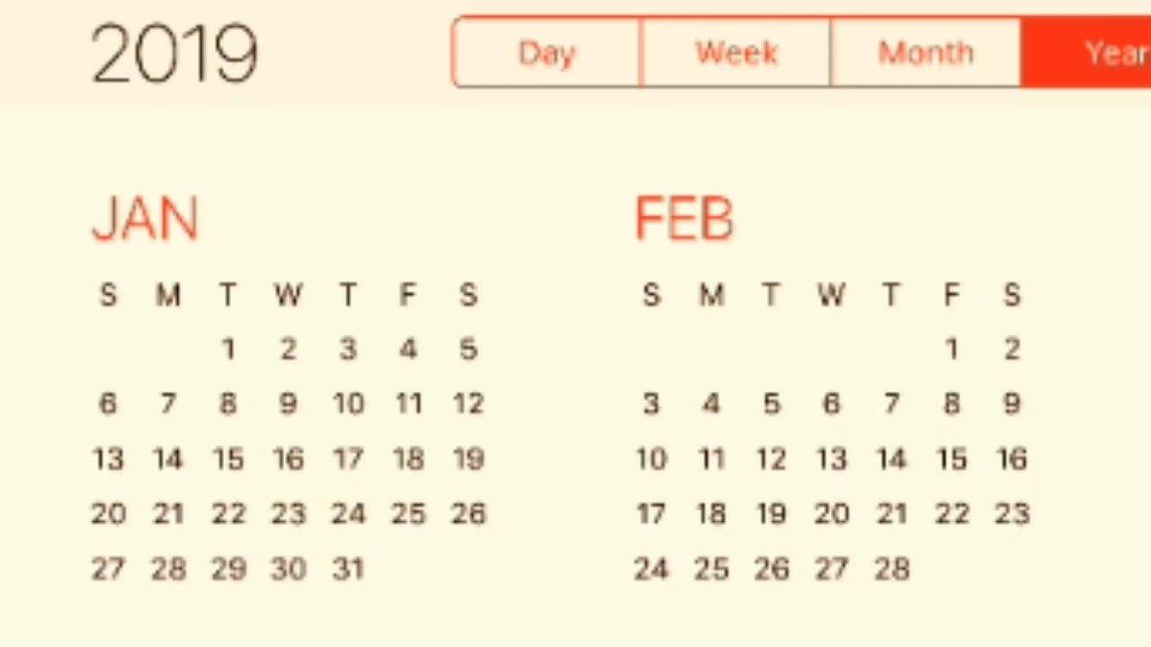 2019 Calendar - Youtube Calendar 2019 Ka