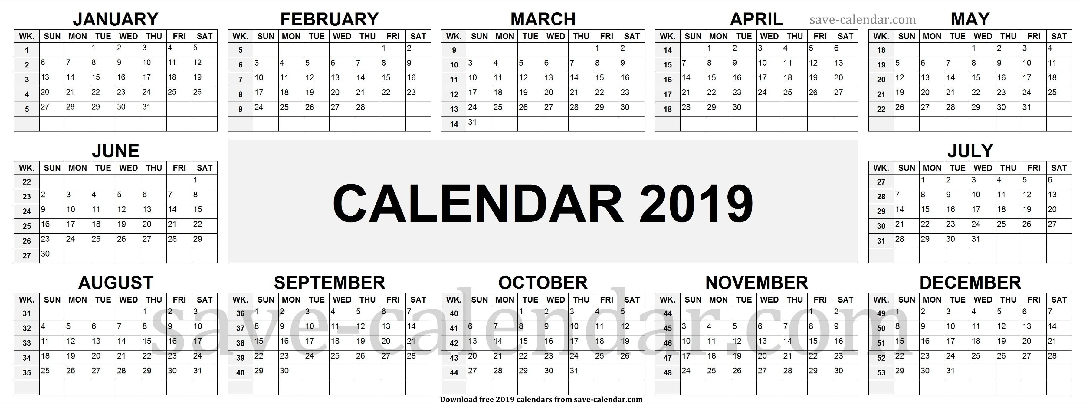 2019 Calendarweek Numbers | Calendar 2019 With Week Numbers Calendar 2019 With Week Numbers