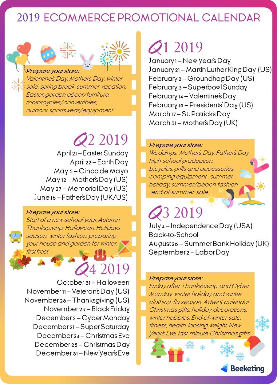 2019 Ecommerce Promotional Calendar - Beeketing Blog Calendar 2019 For Sale
