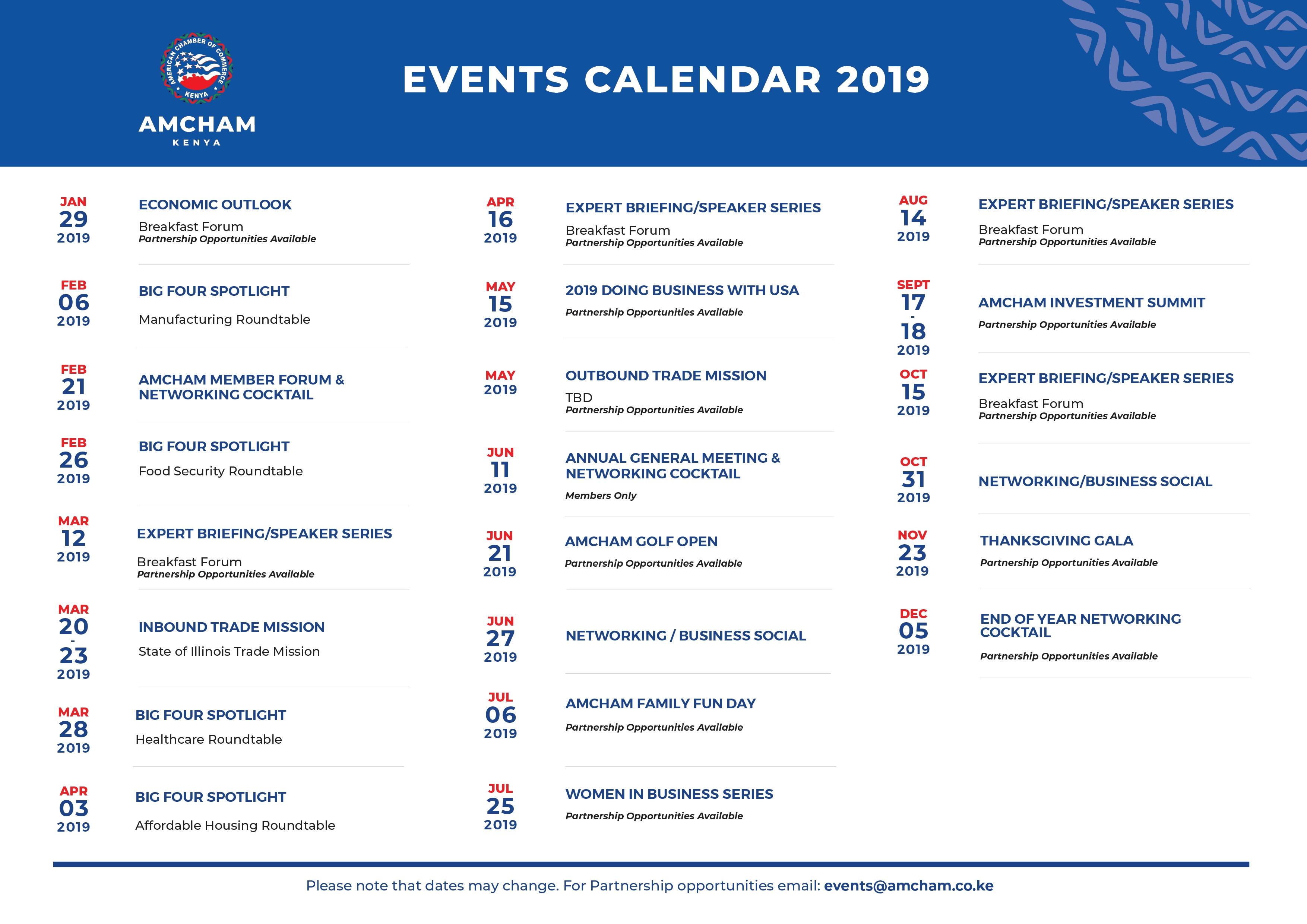 2019 Events Calendar   American Chamber Of Commerce - Kenya Calendar 2019 Kenya