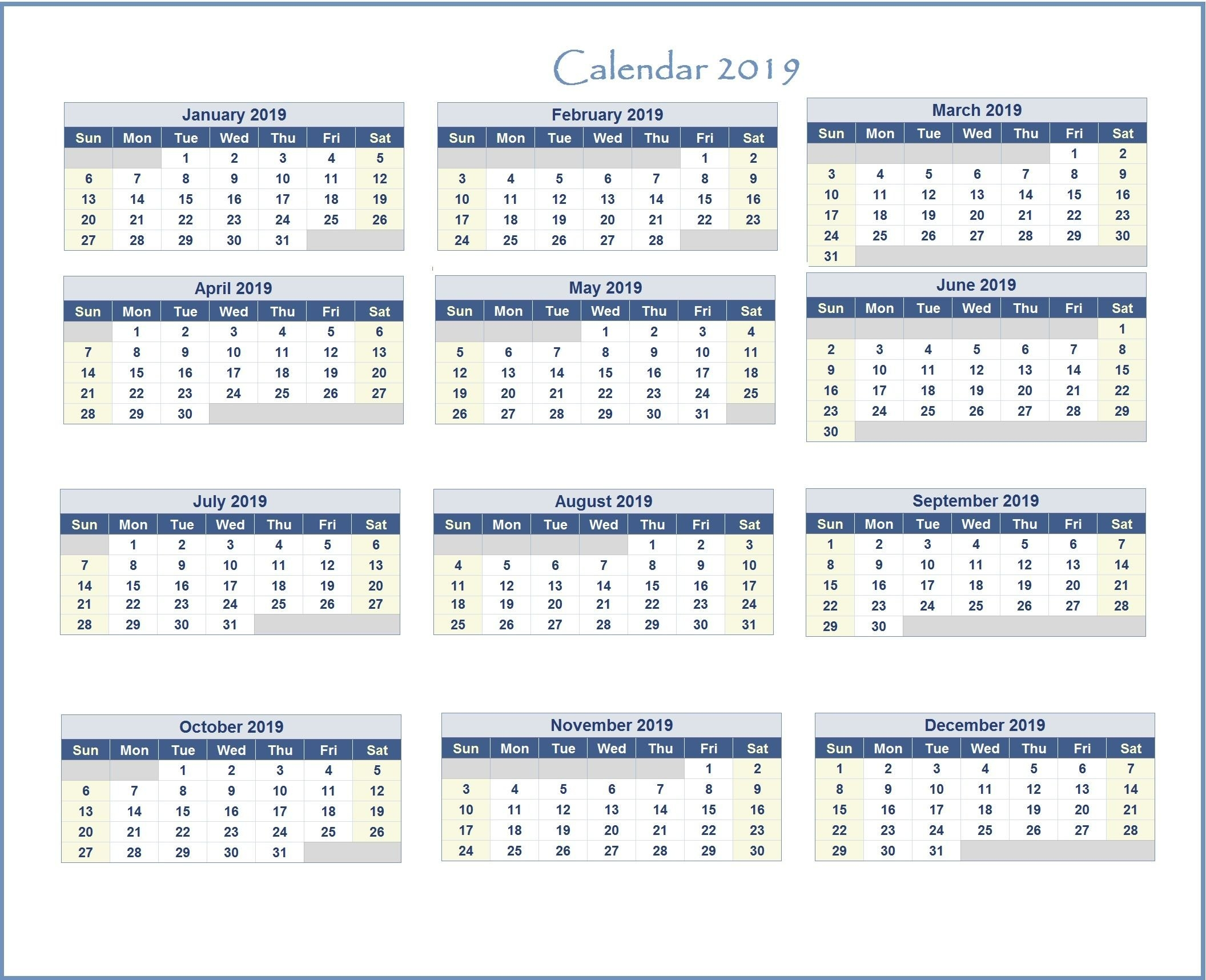2019 Excel Calendar | Monthly Calendar Templates | Pinterest | Excel Calendar 2019 Excel Free