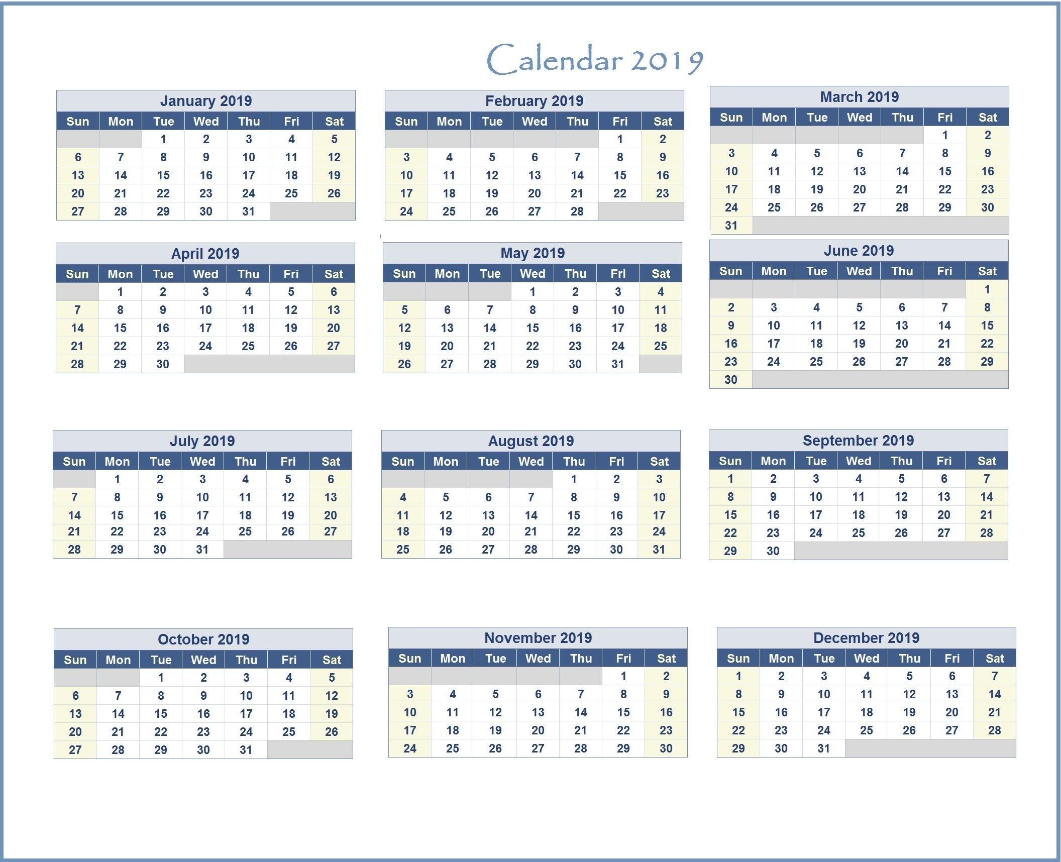 2019 Excel Calendar | Monthly Calendar Templates | Pinterest | Excel Calendar 2019 Excel Monthly