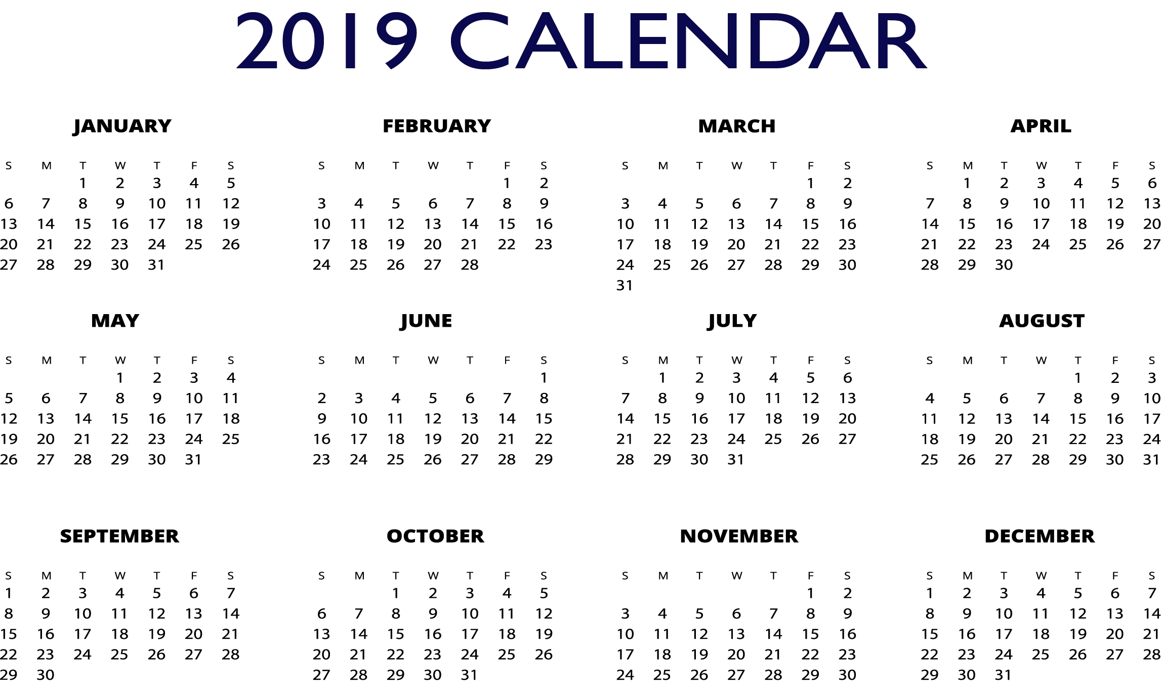 2019 Excel One Page Calendar | 2019 Calendars | Pinterest | Calendar Calendar 2019 For Excel